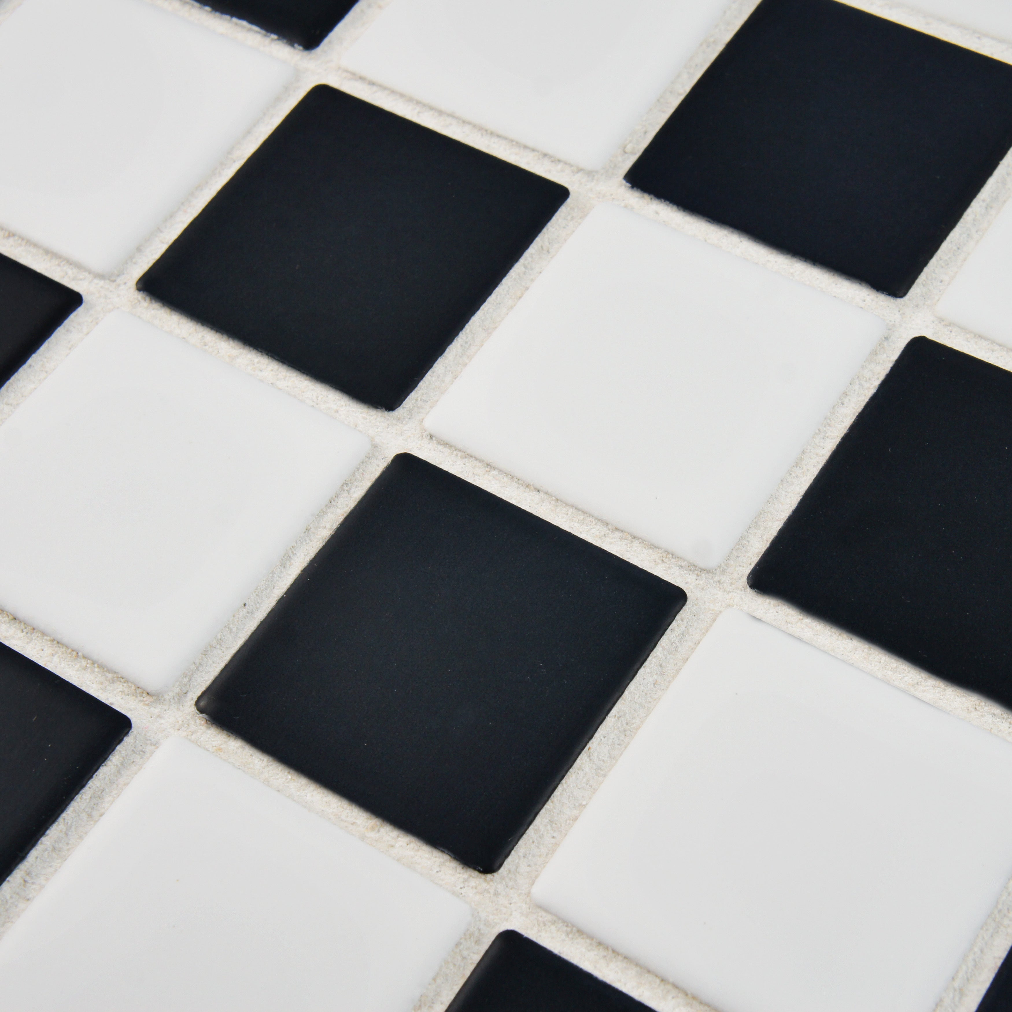 Checkerboard floor home design somertile 125x125 knight matte black white checkerboard porcelain floor and wall tile dailygadgetfo Images