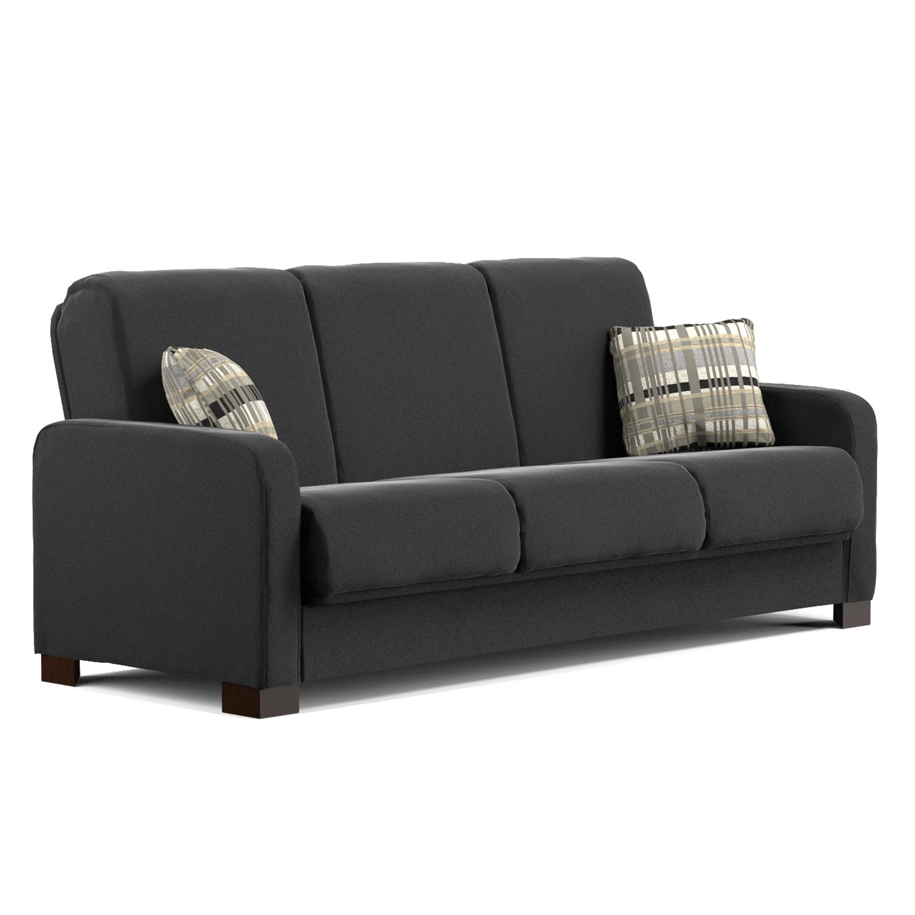 Handy Living Trace Convert A Couch Black Microfiber Futon Sofa Sleeper On Free Shipping Today Com 10333255