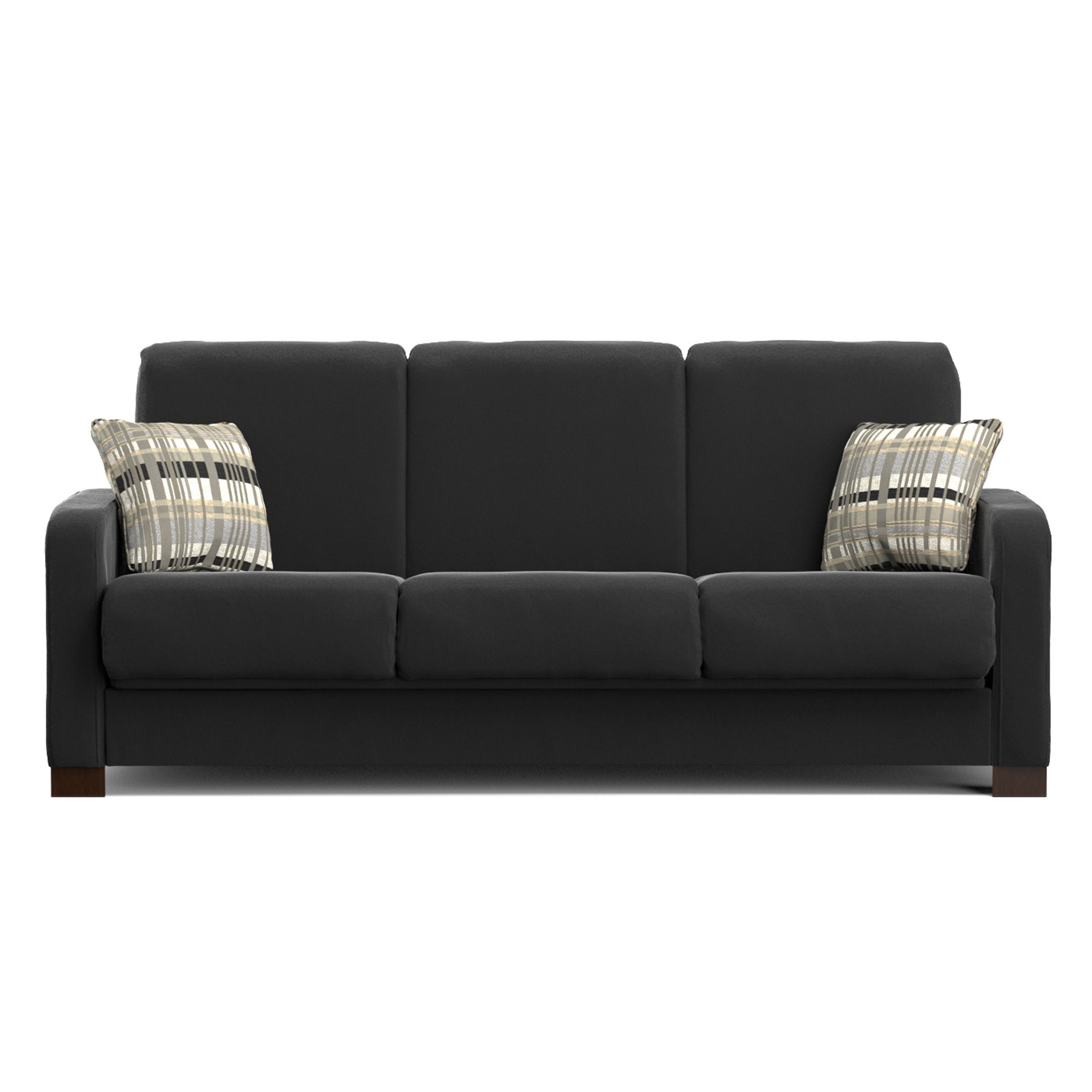 Handy Living Trace Convert A Couch Black Microfiber Futon Sofa Sleeper On Free Shipping Today 10333255