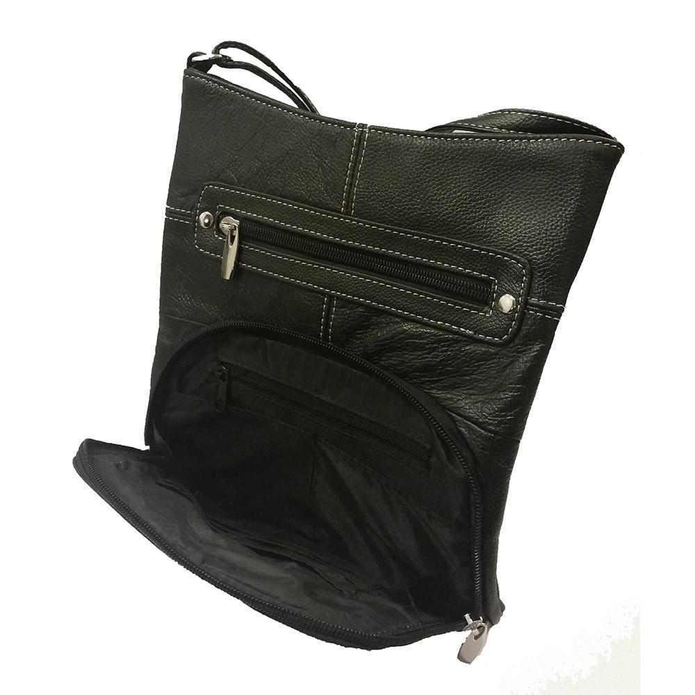 Continental Leather Built in Card Organizer Crossbody Bag