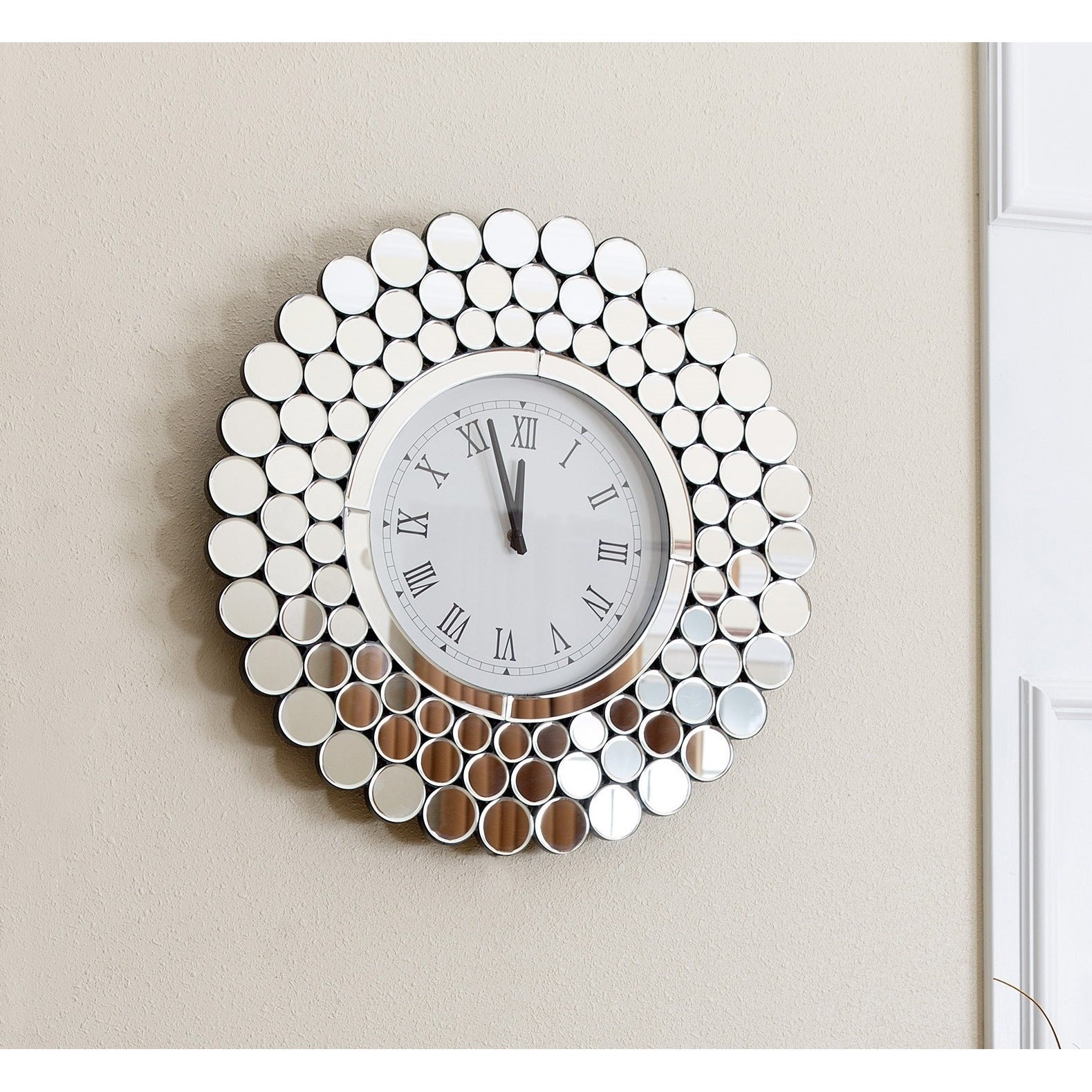 Shop Abbyson Radiance Round Wall Mirror Clock Free Shipping Today