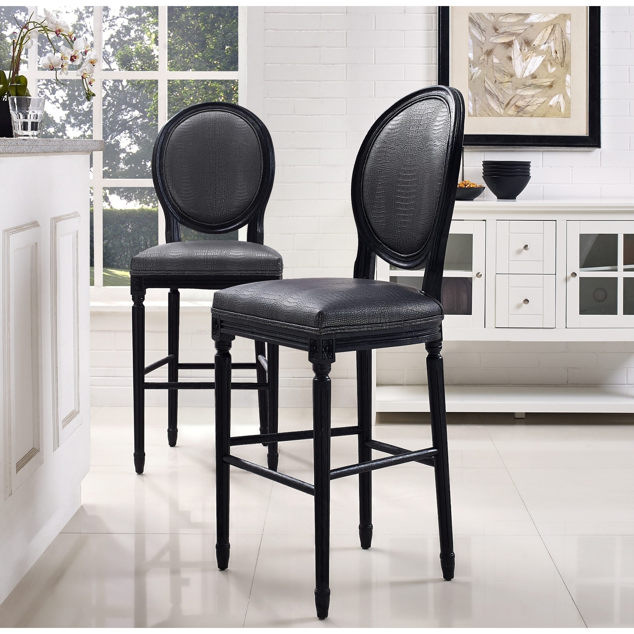 Good Philip Grey Croc Barstool   Free Shipping Today   Overstock.com   17444108 Images