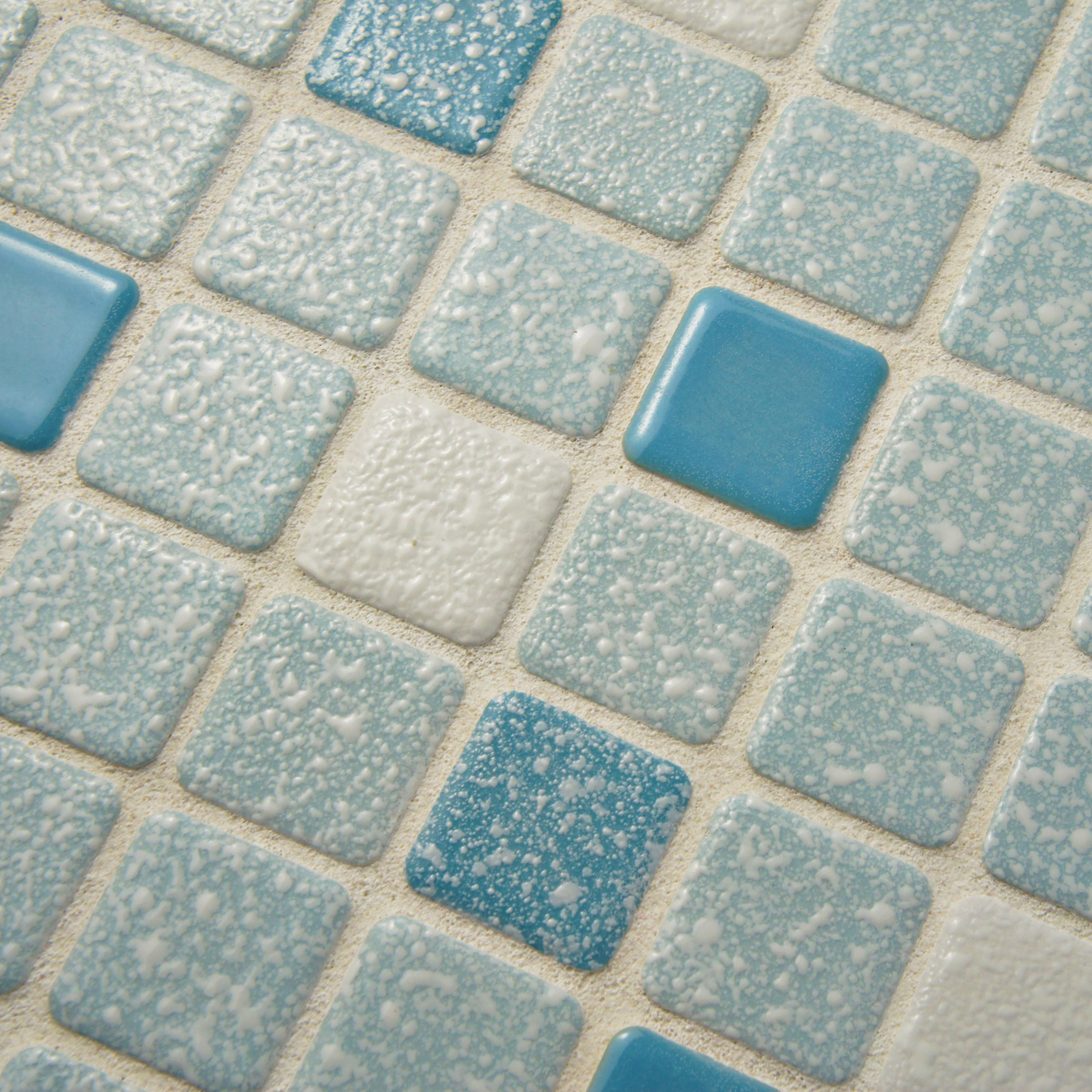 Shop SomerTile 11.75x11.75-inch Scholar Square Blue Porcelain Mosaic ...