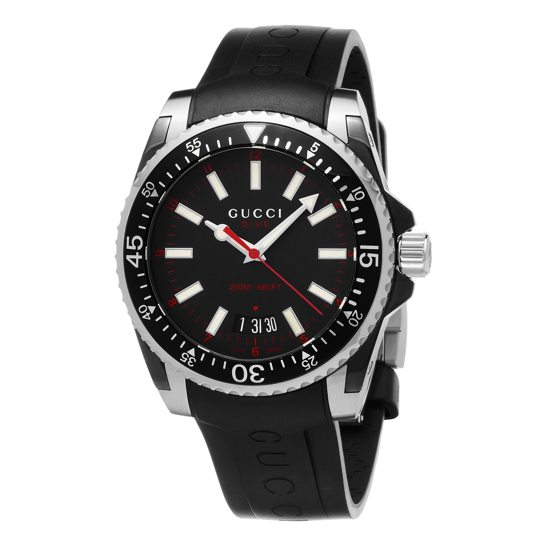 9172f110466 Shop Gucci Men s YA136303  Dive  Black Rubber Watch - Free Shipping ...