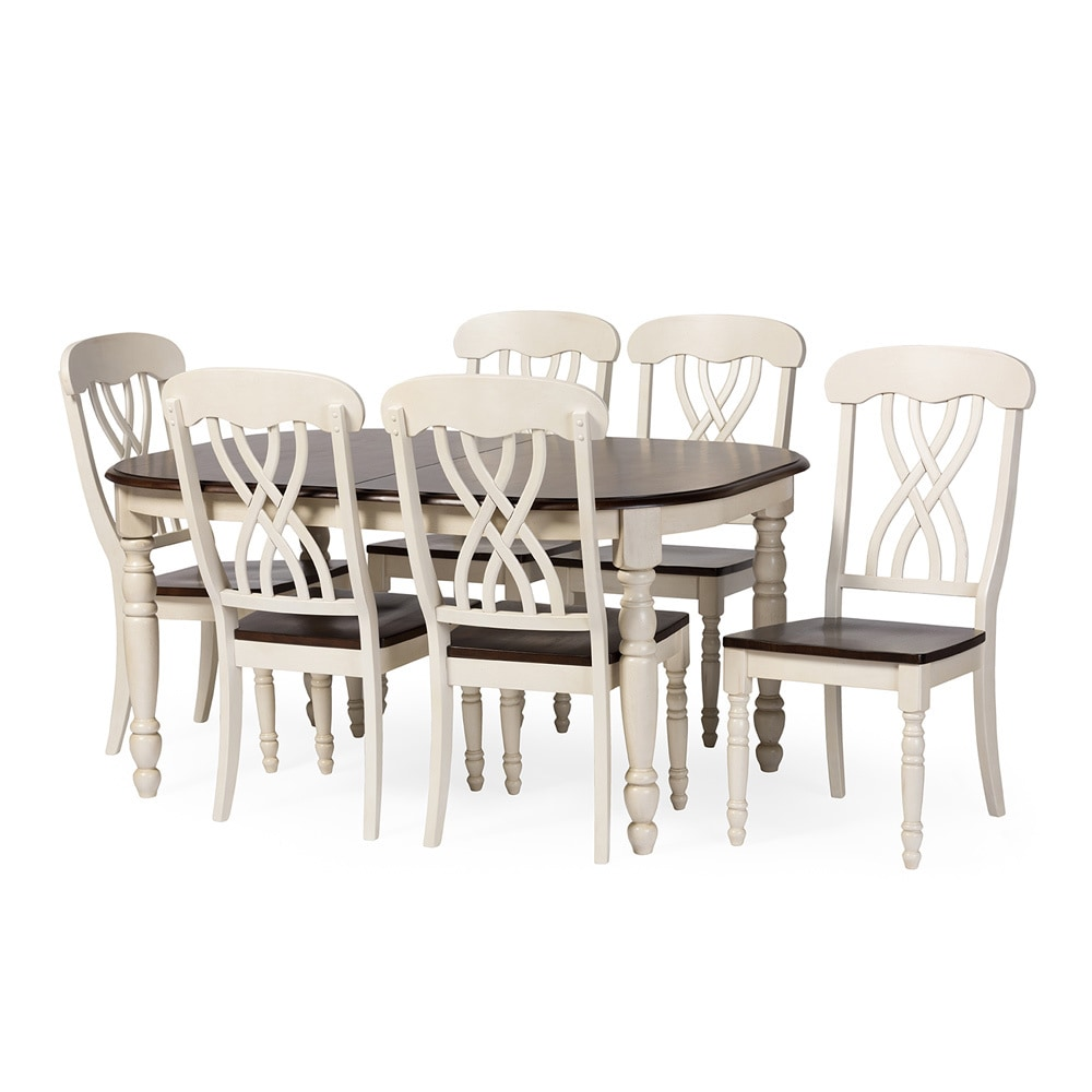 white dining table shabby chic country. Newman Shabby Chic Country Cottage Antique Oak Wood And Distressed White 7-Piece Dining Set - Free Shipping Today Overstock 17445848 Table
