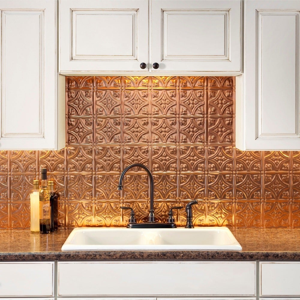 Shop fasade traditional style 1 polished copper backsplash 18 inch x 24 inch panel free shipping on orders over 45 overstock com 10336133