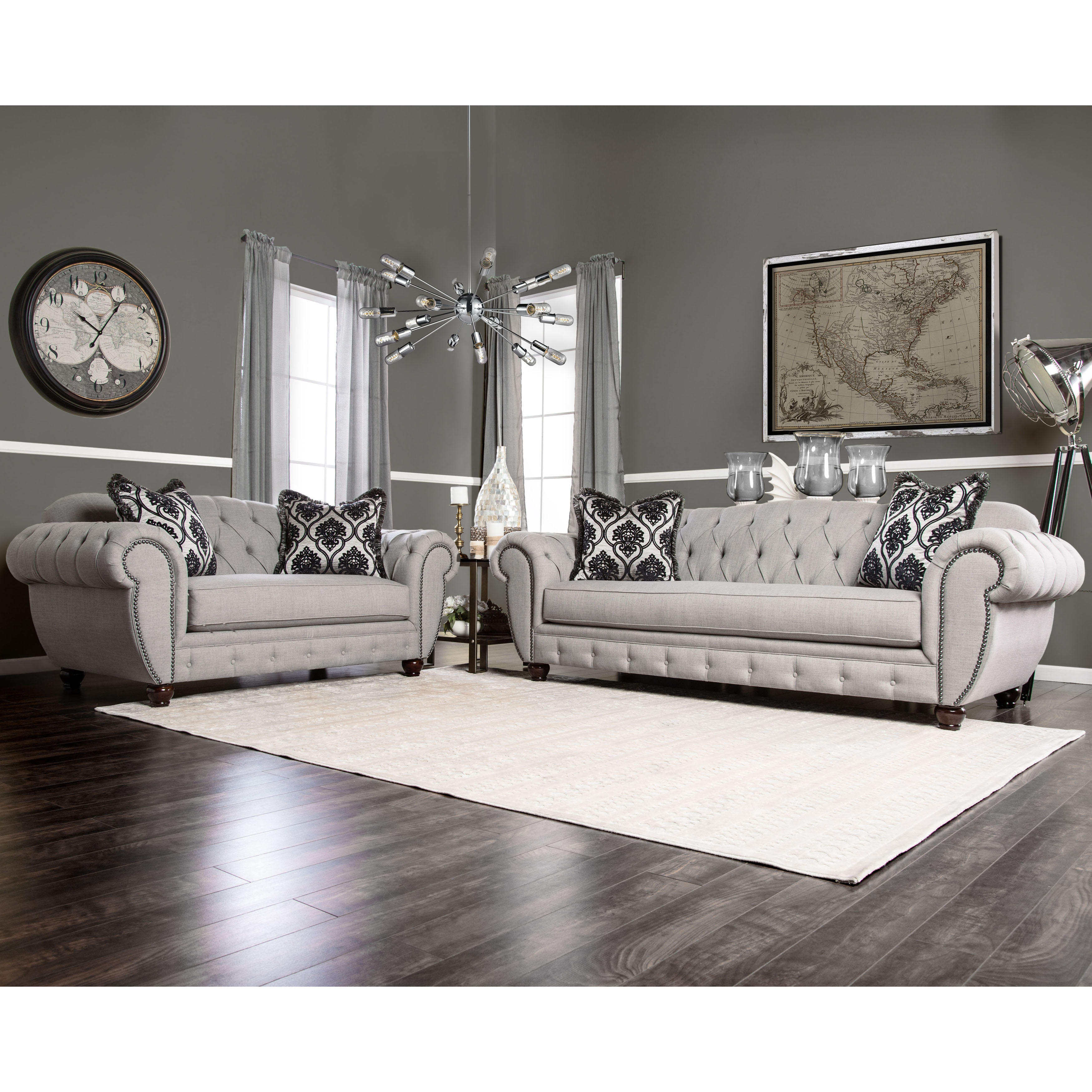 Shop Furniture of America Augusta Victorian Grey 2-piece Sofa Set ...