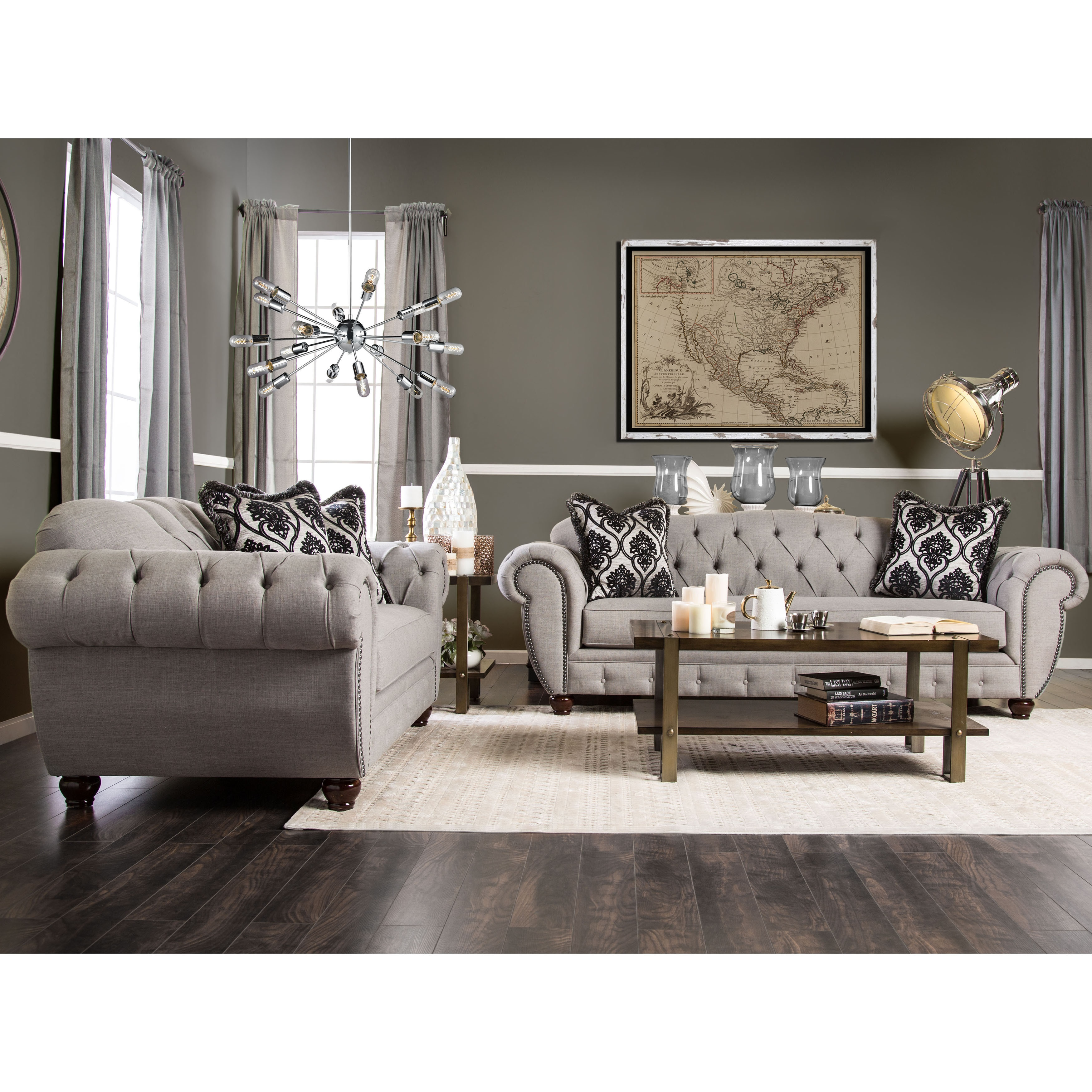 Furniture Of America Augusta Victorian Grey 2 Piece Sofa Set Free Shipping Today 17447730