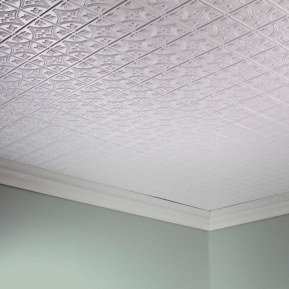 Fasade Traditional Style 1 Matte White 2 Foot X 4 Glue Up Ceiling Tile Free Shipping On Orders Over 45 10338111