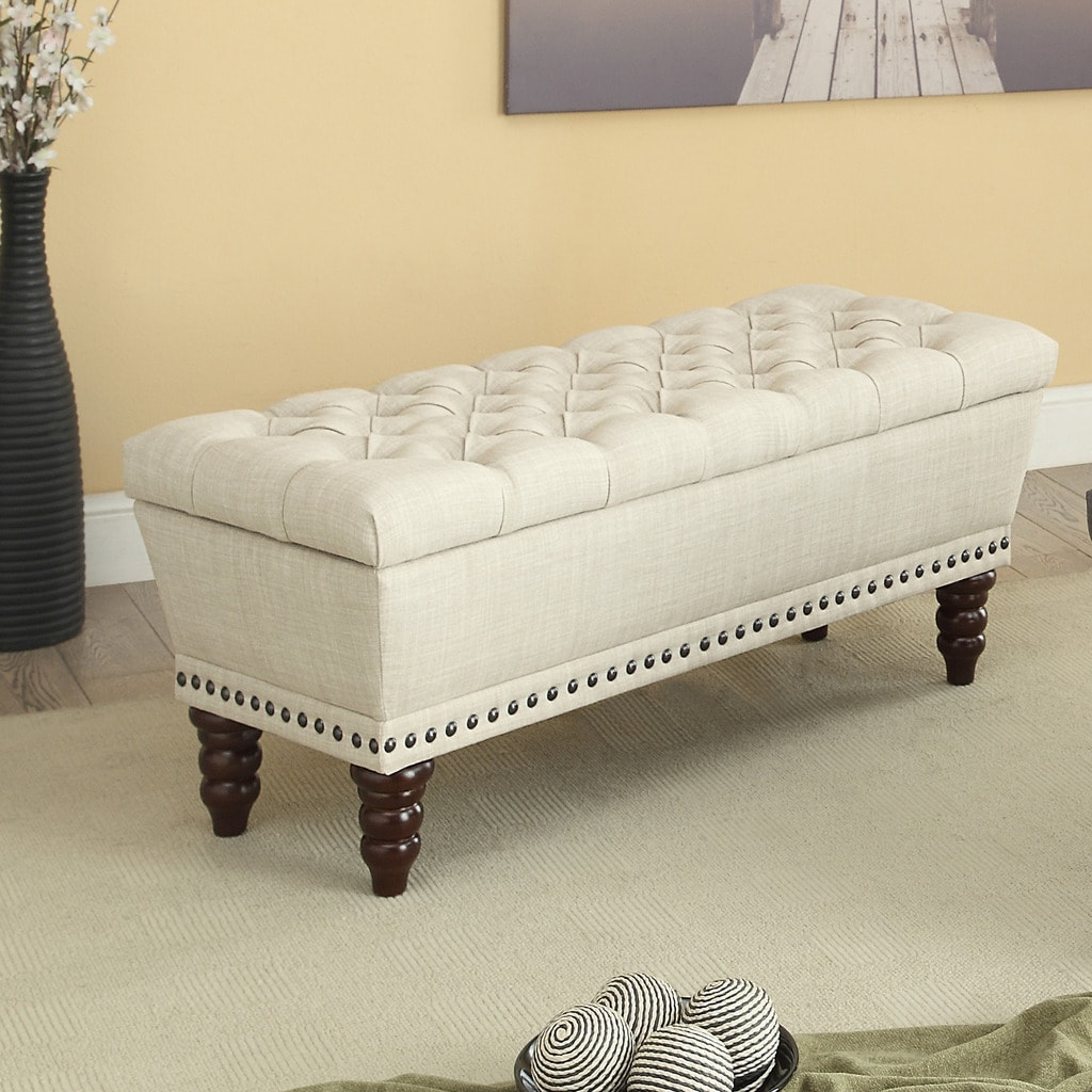 Shop Hampton Linen Tufted Storage Bench - Free Shipping Today ...
