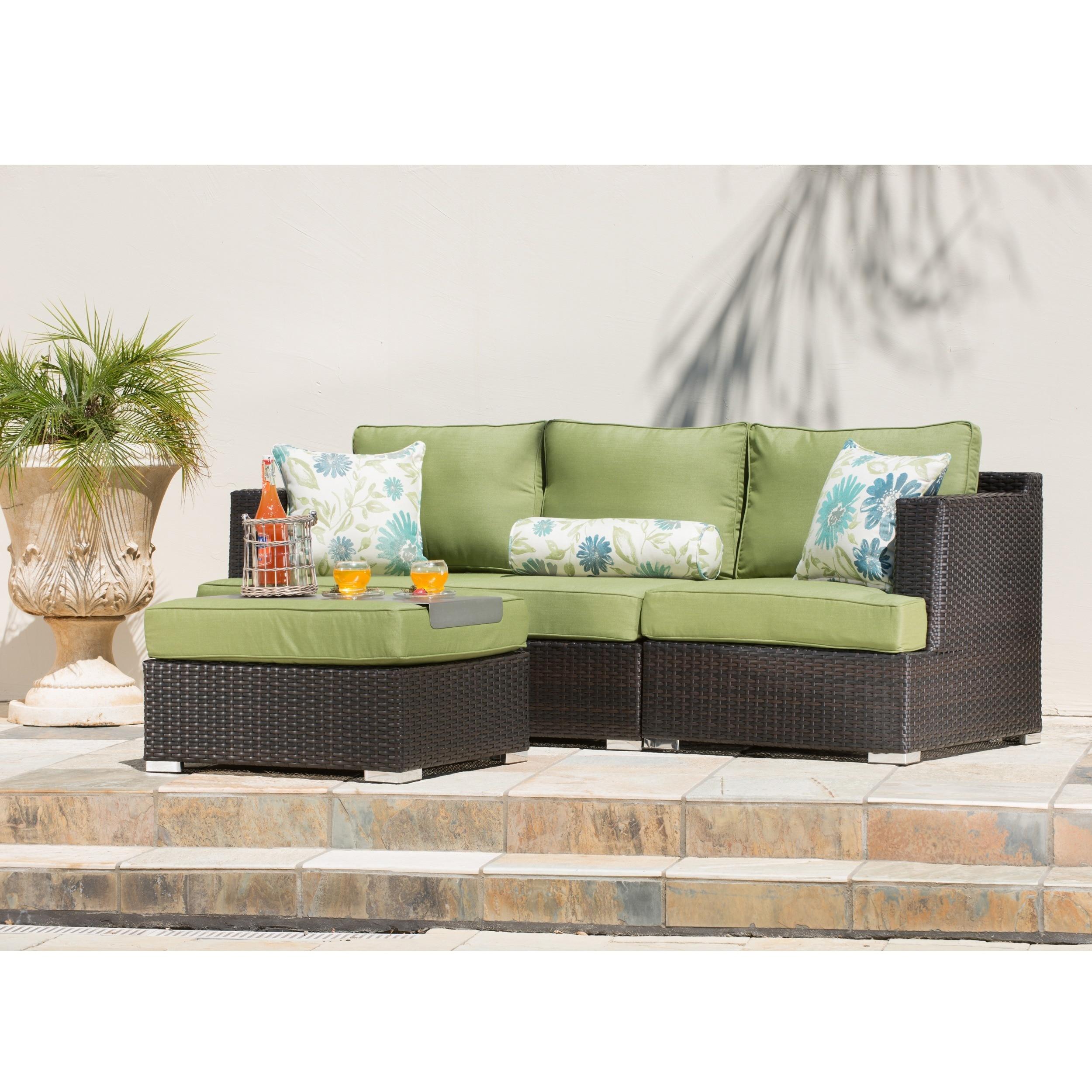 Corvus sorrento 4 piece brown wicker patio furniture set with sunbrella cushions