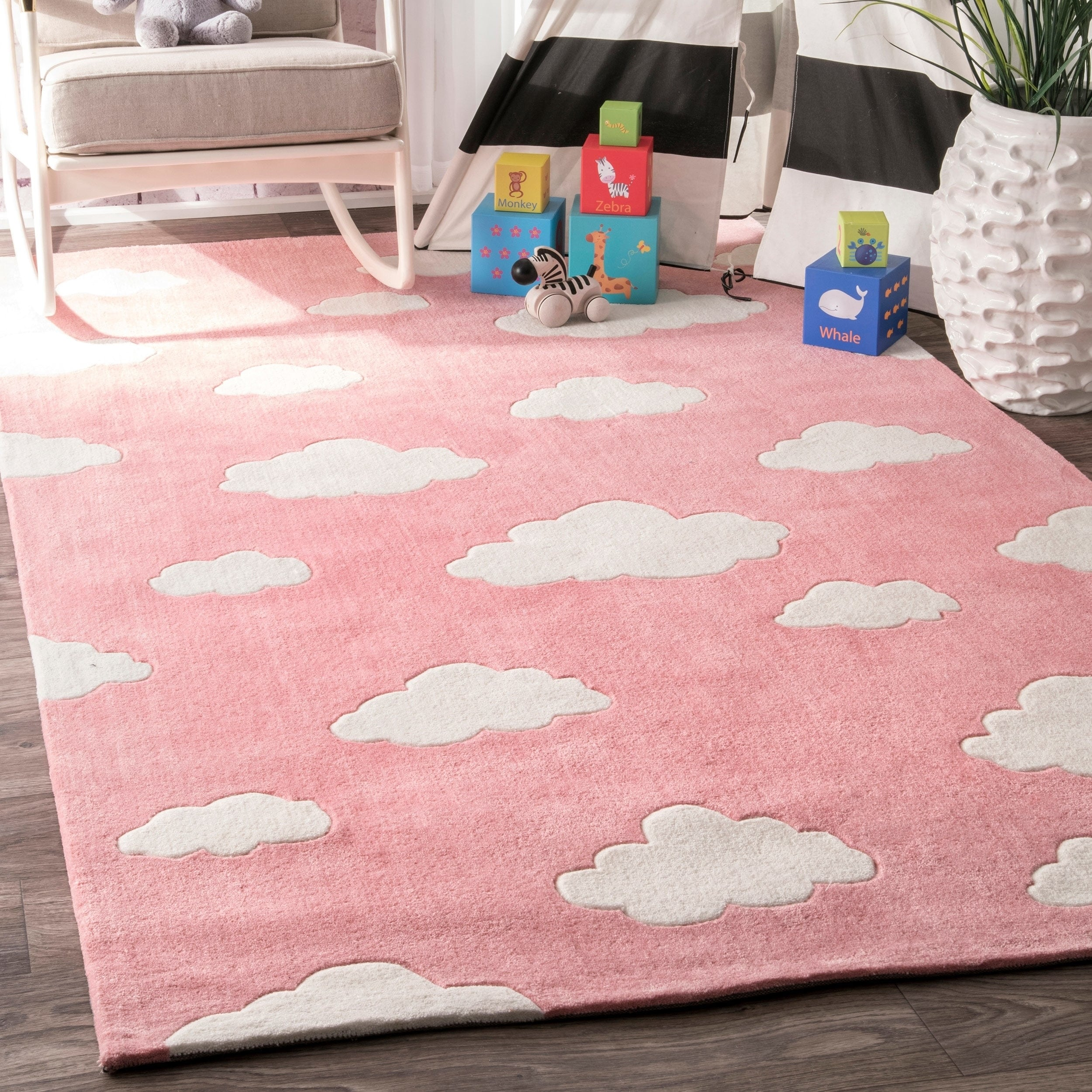 Nuloom Handmade Modern Clouds Kids Pink Blue Rug 7 6 X 9 On Free Shipping Today 10339757
