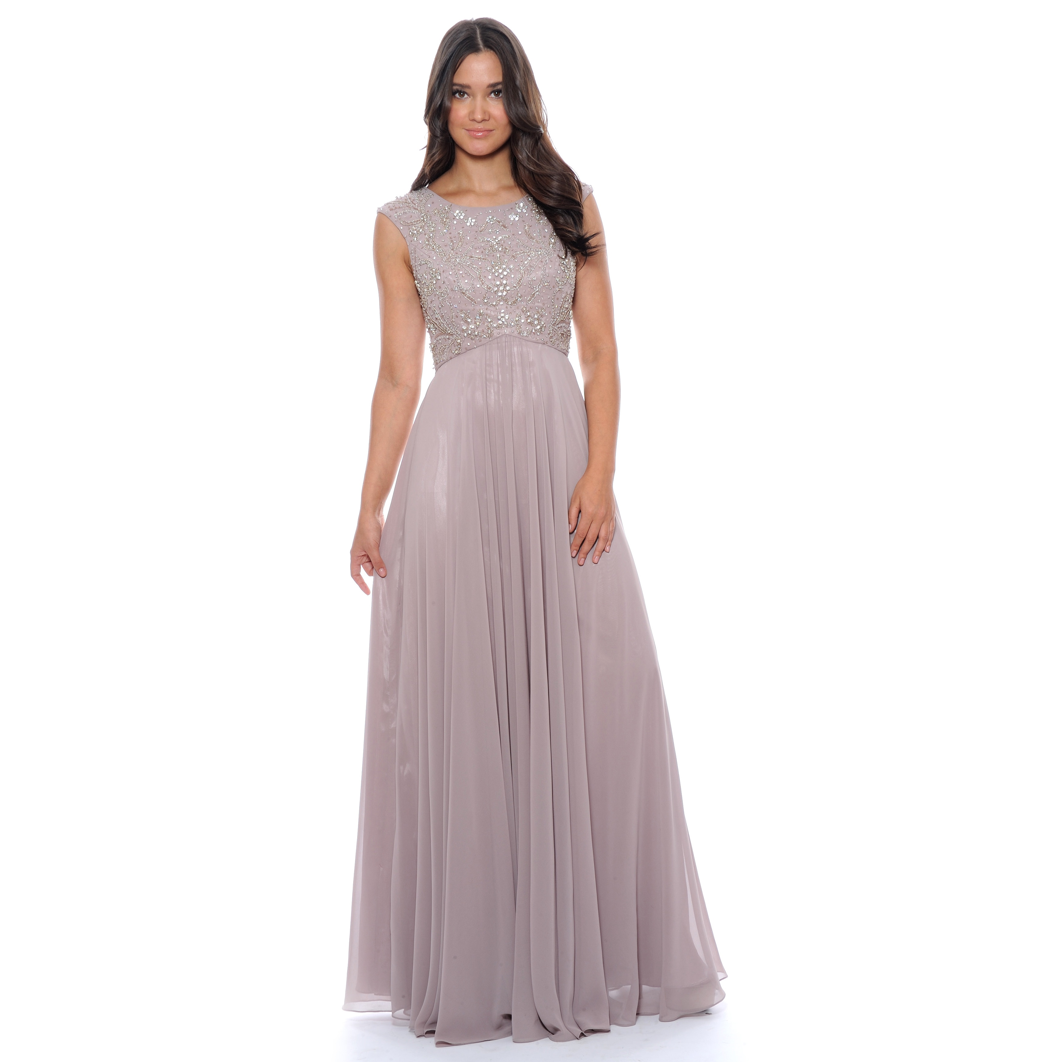Shop Decode 1.8 Women\'s Mauve Beaded Empire Evening Gown - Free ...
