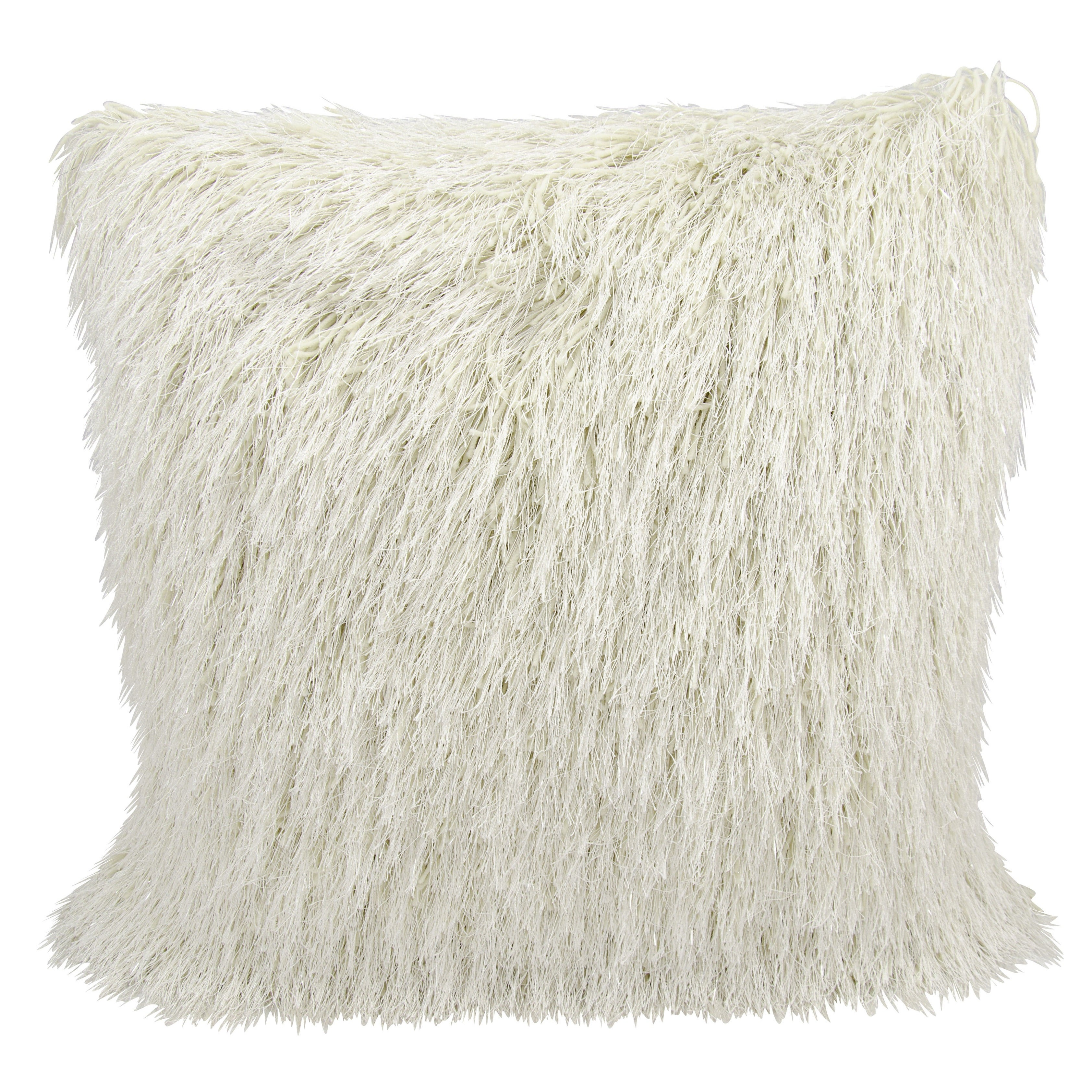 Mina Victory Shag Yarn Shimmer Cream Throw Pillow (20-inch x 20-inch) by  Nourison - Free Shipping Today - Overstock.com - 17452738