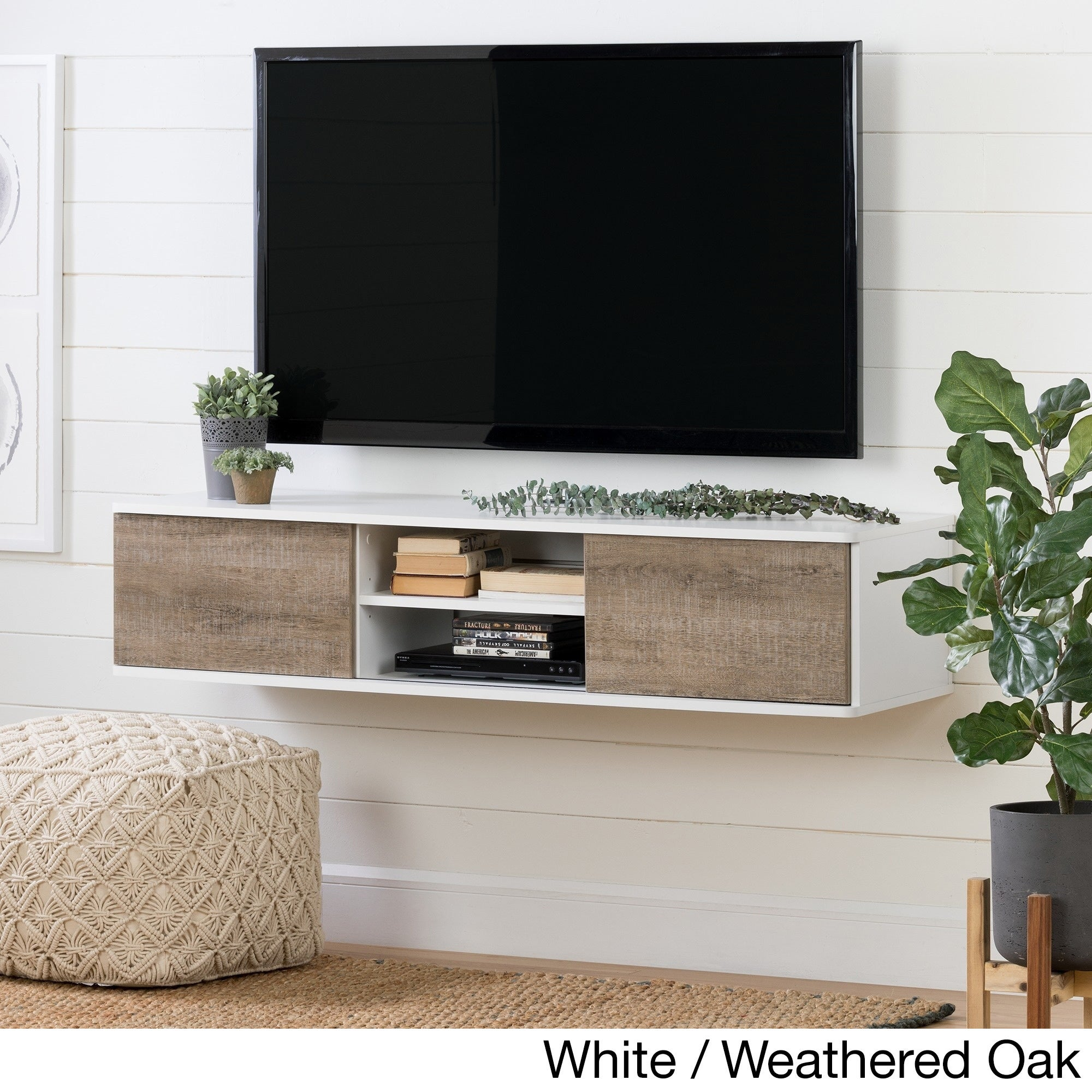 441550384f8f12 Shop South Shore Agora 56-inch Wall Mounted Media Console - On Sale ...