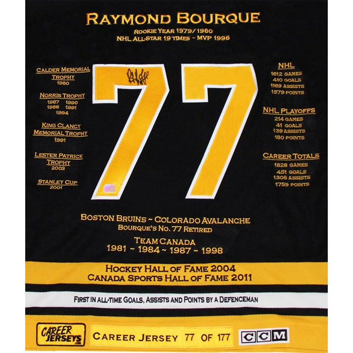 on sale 580f7 009c4 Ray Bourque Career Jersey #77 of 177
