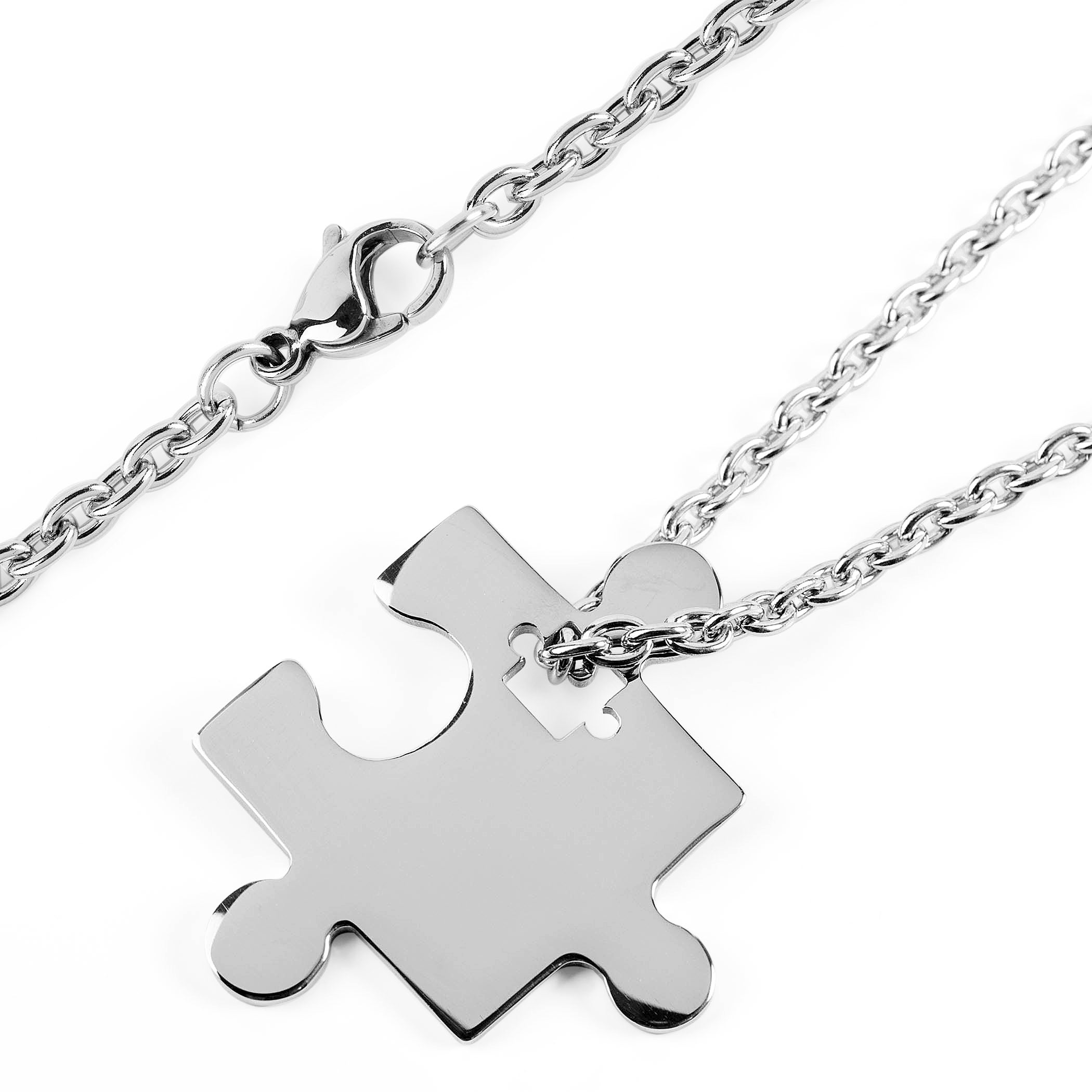 Shop womens stainless steel jigsaw puzzle piece pendant necklace shop womens stainless steel jigsaw puzzle piece pendant necklace free shipping on orders over 45 overstock 10352173 aloadofball Gallery