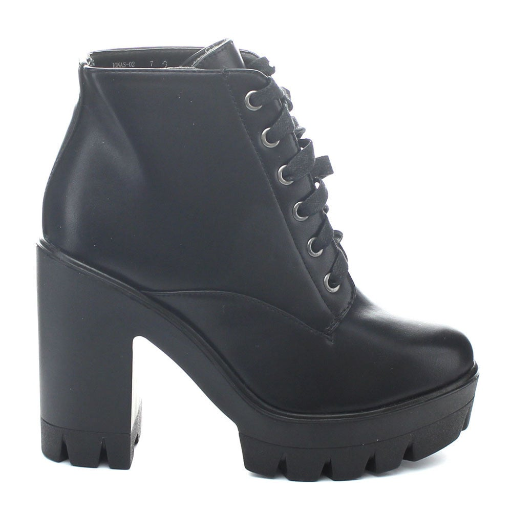 a4a83daddf2f Shop Bamboo Jonas-02 Women Lace Up Chunky Heel Lug Sole Platform Combat  Ankle Booties - Free Shipping On Orders Over  45 - Overstock - 10352452