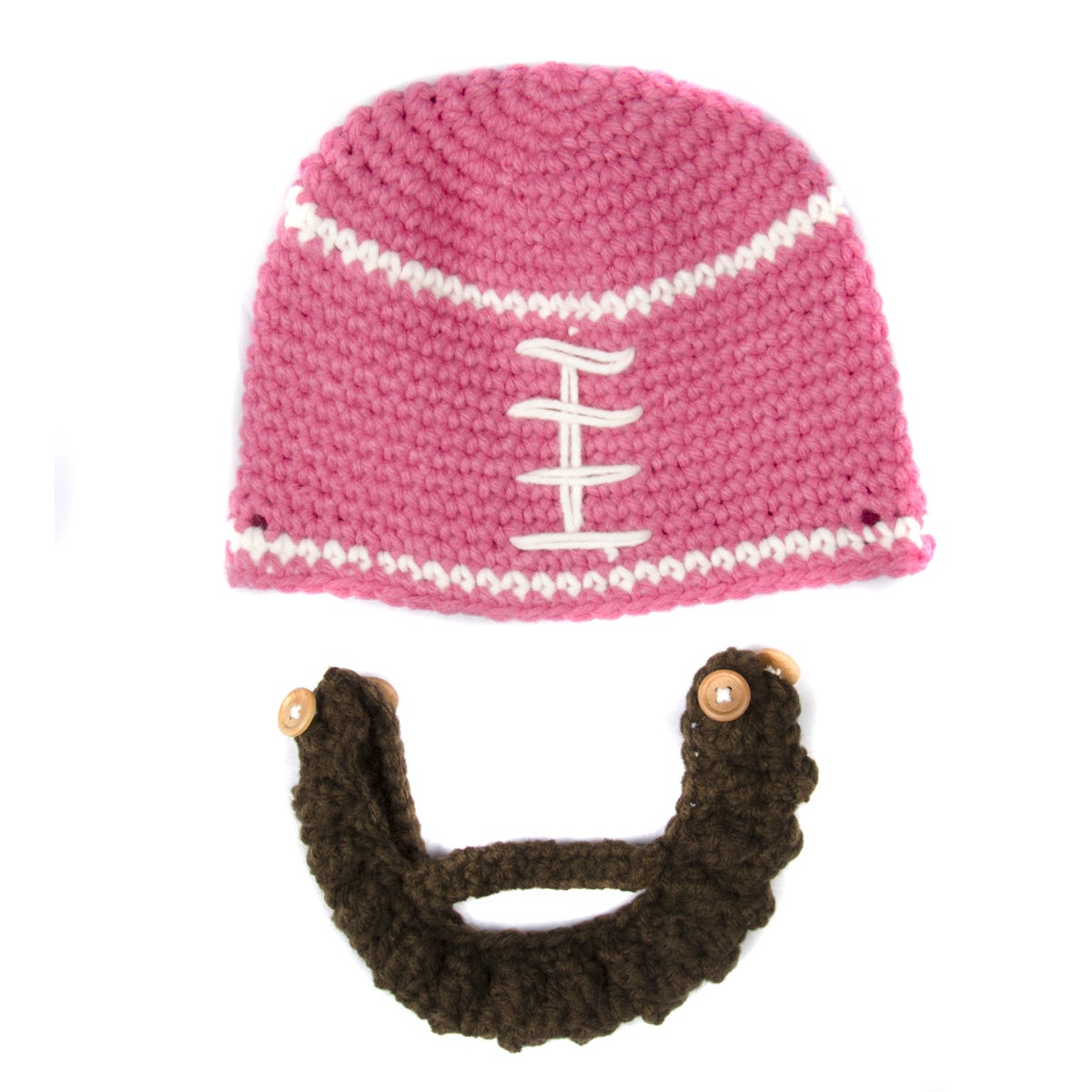 79e67778819 Shop Crummy Bunny Children s Hand Knit Pink Football Beanie with Removable  Beard - Free Shipping On Orders Over  45 - Overstock - 10352825