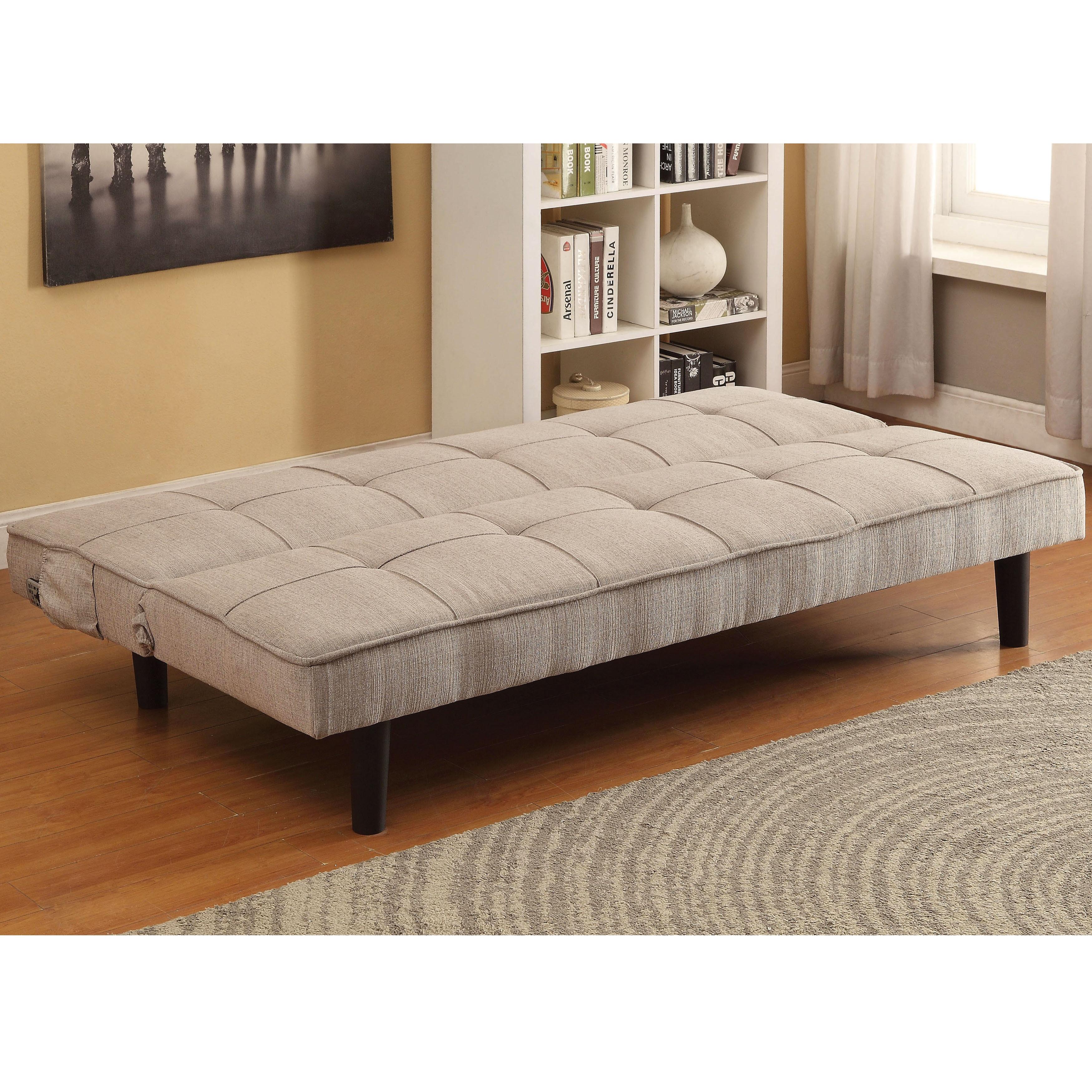 furniture of america calbry contemporary flax fabric futon sofa