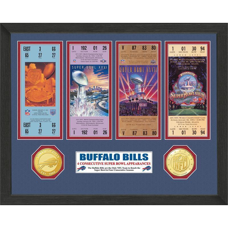 Buffalo Bills 4 Consecutive Super Bowl Appearances Ticket Collection ...