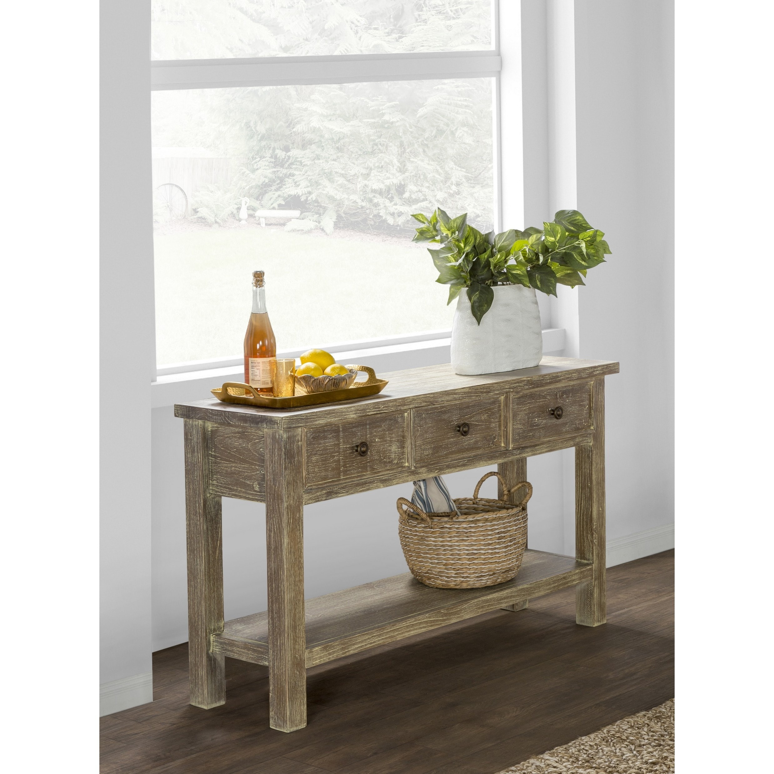 Rockie Rustic Wood Console Table By Kosas Home On Free Shipping Today 10353659
