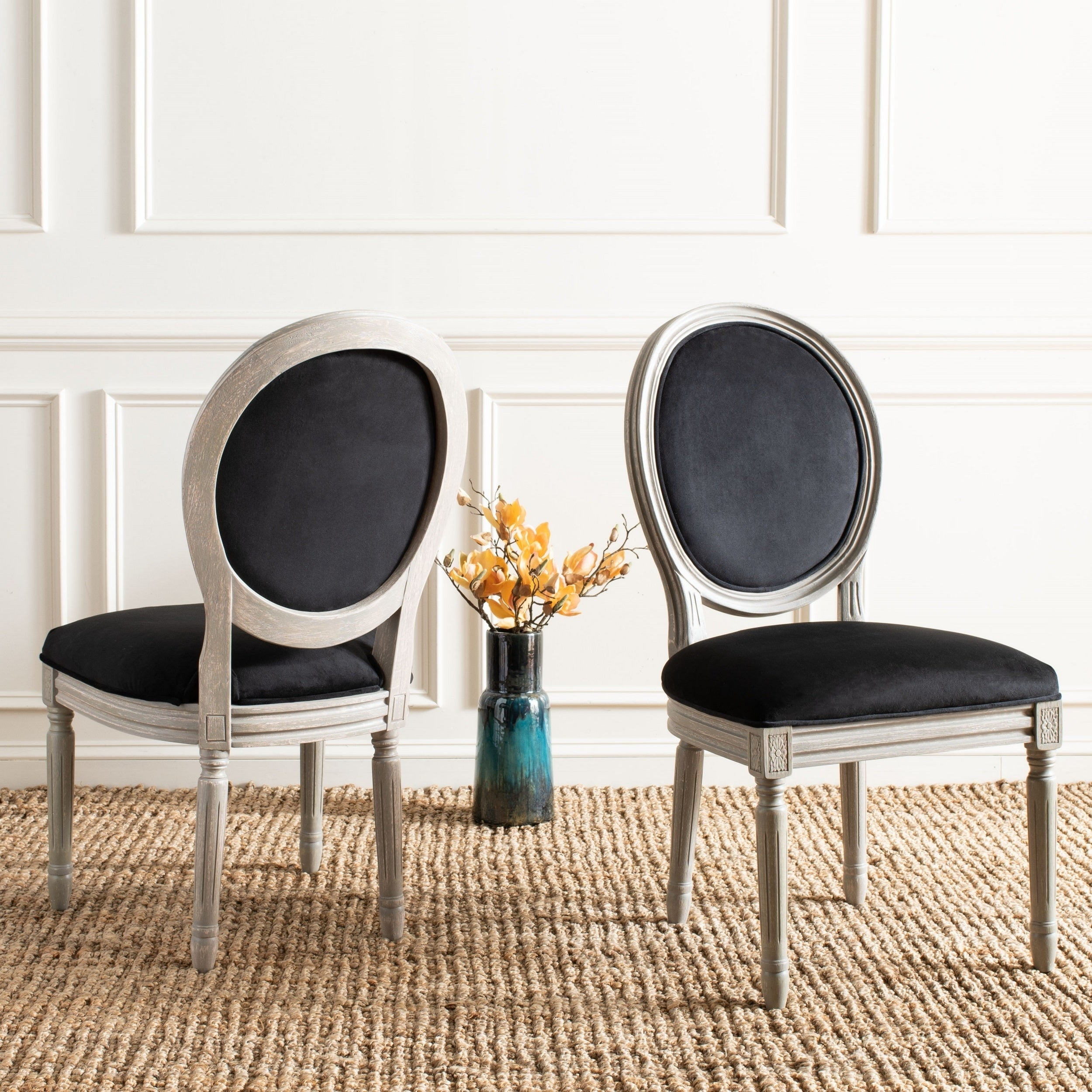 Safavieh Dining Old World Holloway Black Velvet Oval Chairs Set Of 2 On Free Shipping Today 10353753