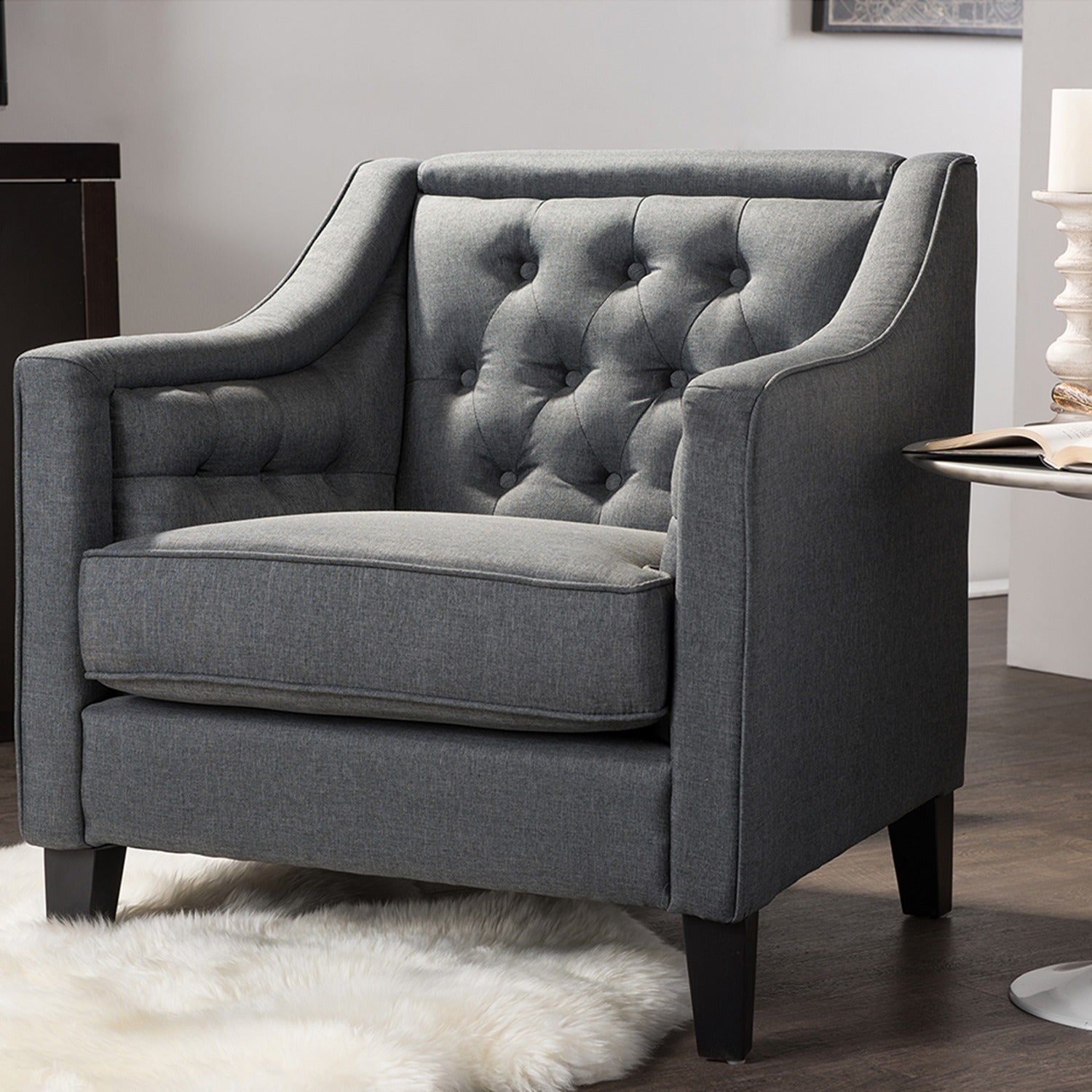 Shop Vienna Classic Retro Modern Contemporary Grey Fabric Upholstered  Button Tufted Armchair   Free Shipping Today   Overstock.com   10354655