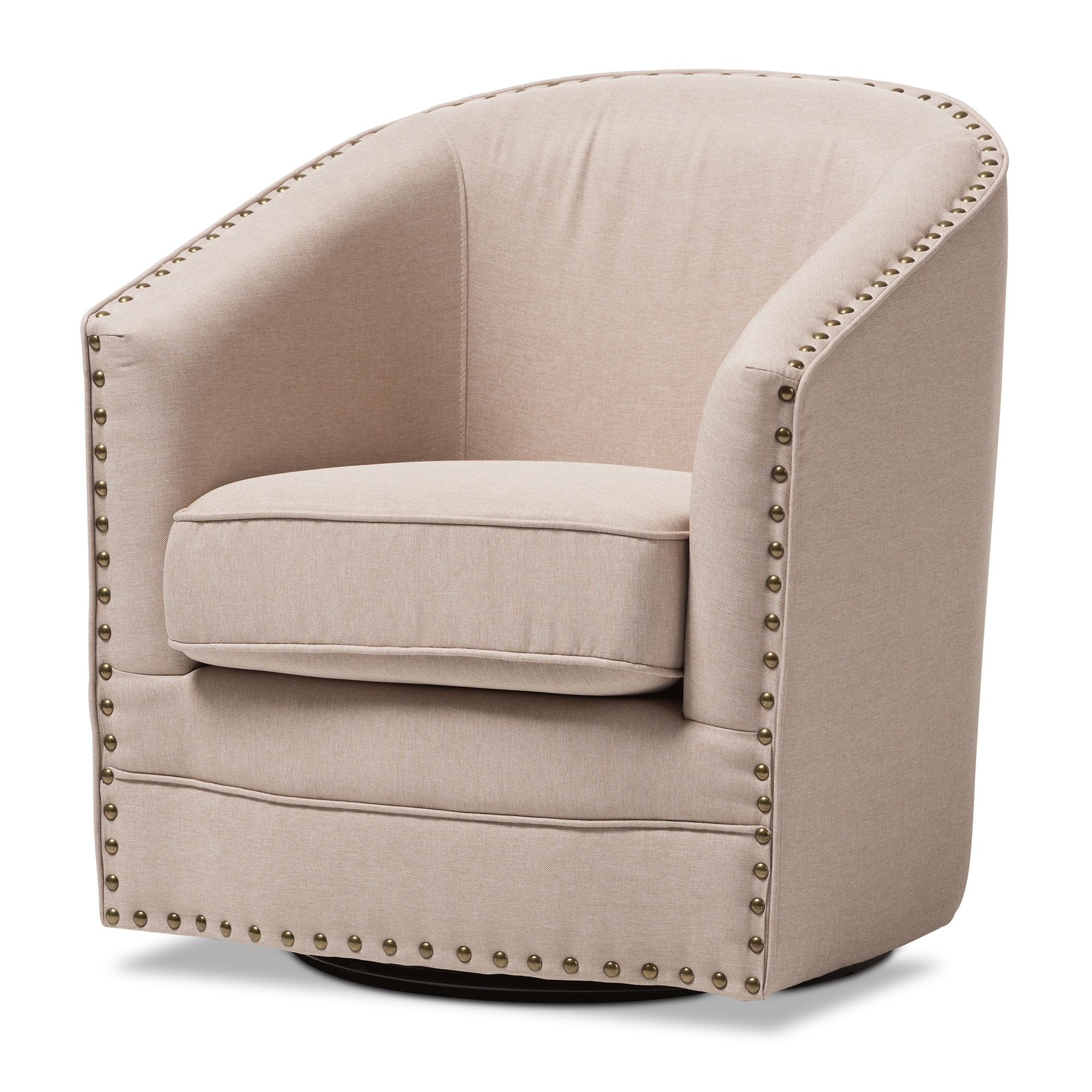 Beau Shop Baxton Studio Porter Contemporary Beige Fabric Upholstered Swivel Tub  Chair   Free Shipping Today   Overstock.com   10354817