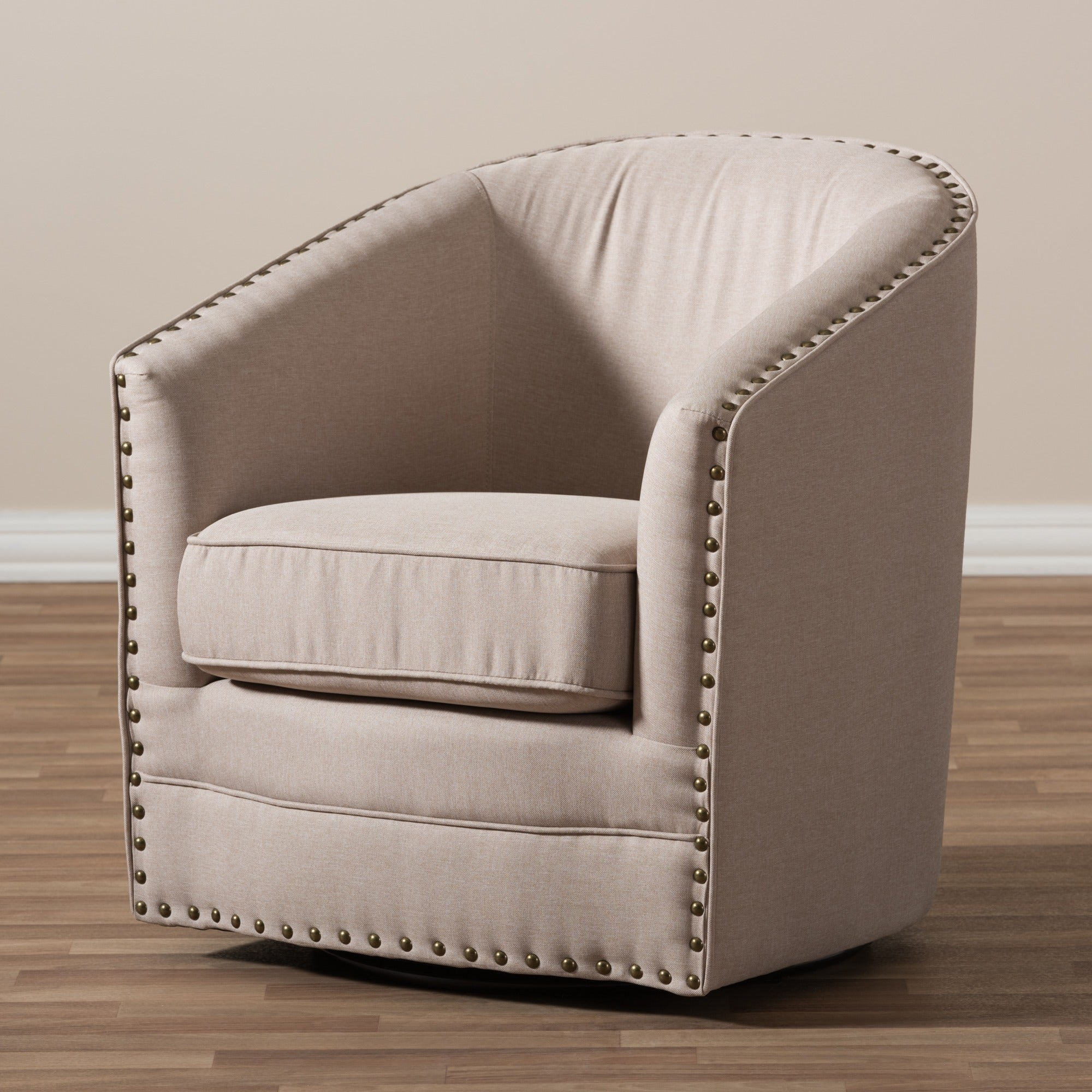 Shop Baxton Studio Porter Contemporary Beige Fabric Upholstered Swivel Tub  Chair   Free Shipping Today   Overstock.com   10354817