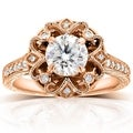 Annello by Kobelli 14k Rose Gold 1 1/5ct TGW Moissanite (HI) and Diamond Floral Vintage Engagement Ring