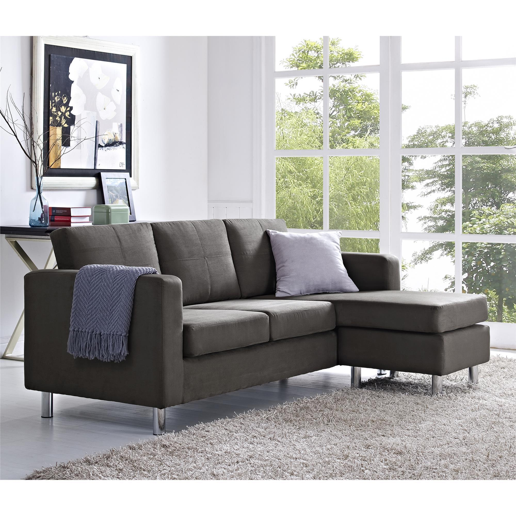 Dorel Living Small Spaces Grey Microfiber Configurable Sectional  ~ Small Spaces Sectional Sofa