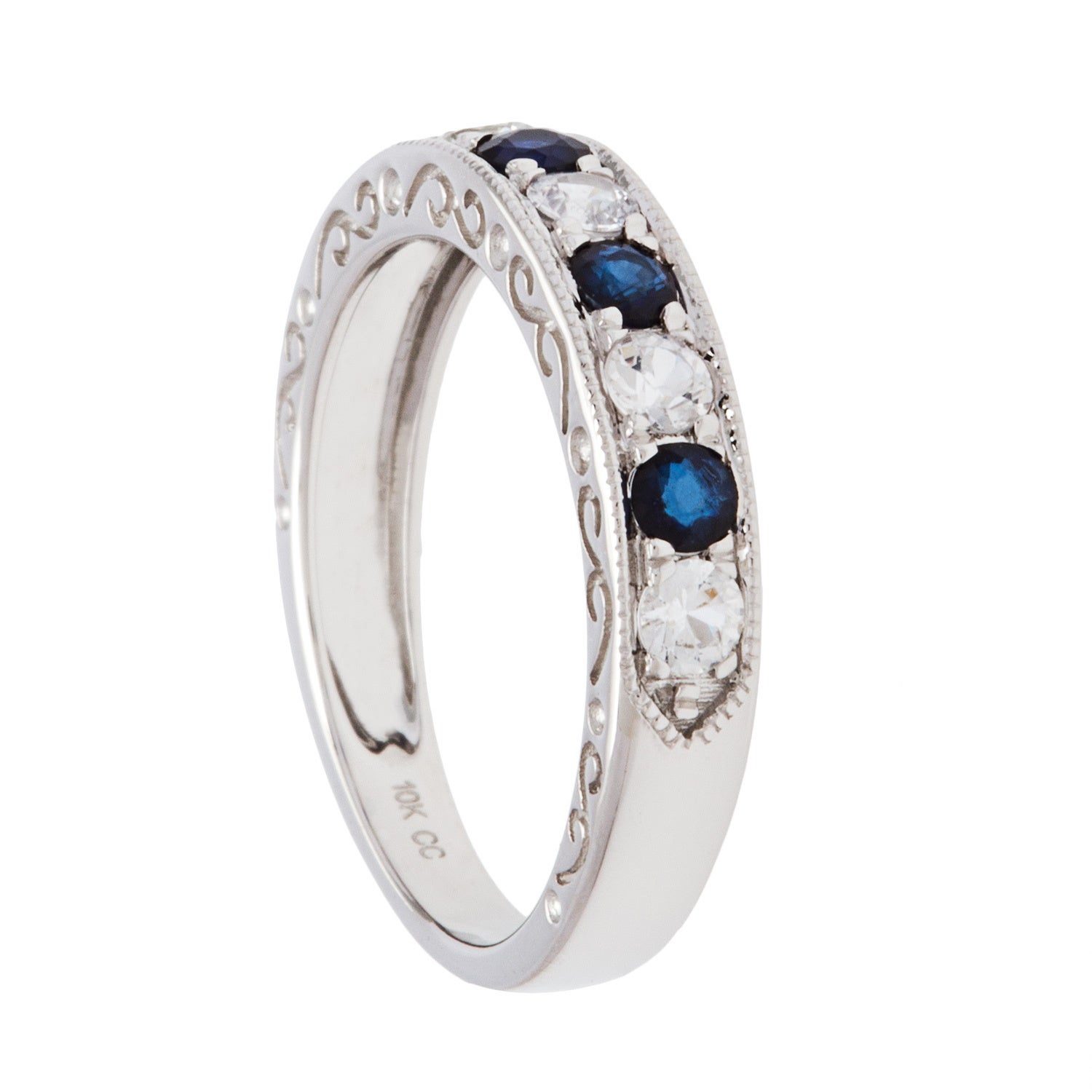 gold blue in luulla product band original ring sapphire emerald wedding and on white