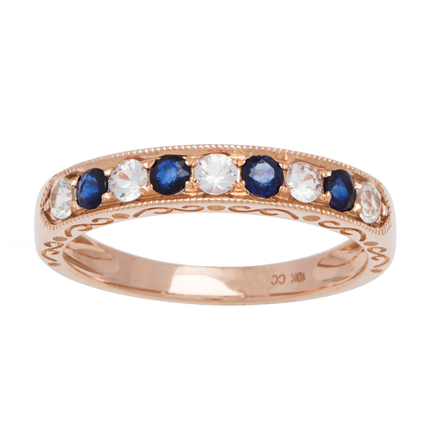 Viducci 10k Gold Vintage Style Sapphire Wedding Band Free Shipping