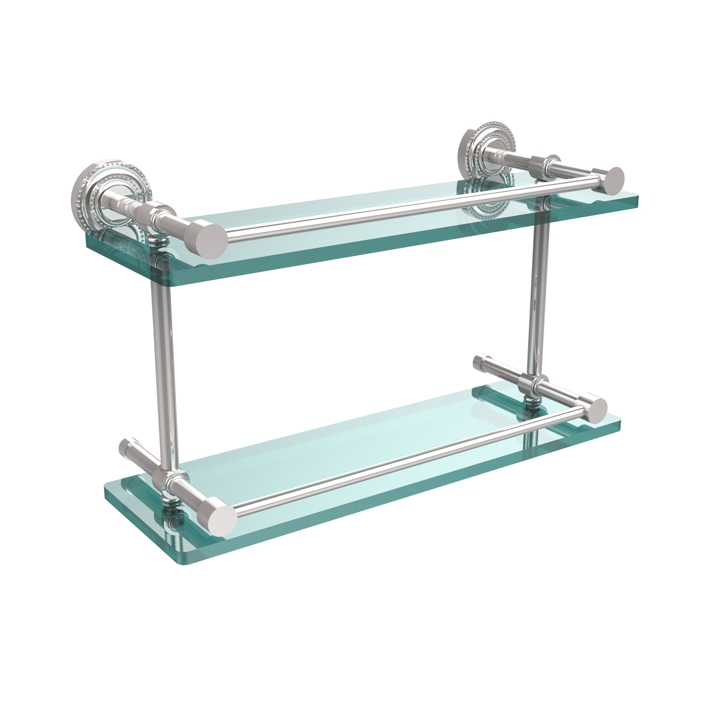 Shop Allied Brass Dottingham 16-inch Double Glass Shelf with Gallery ...