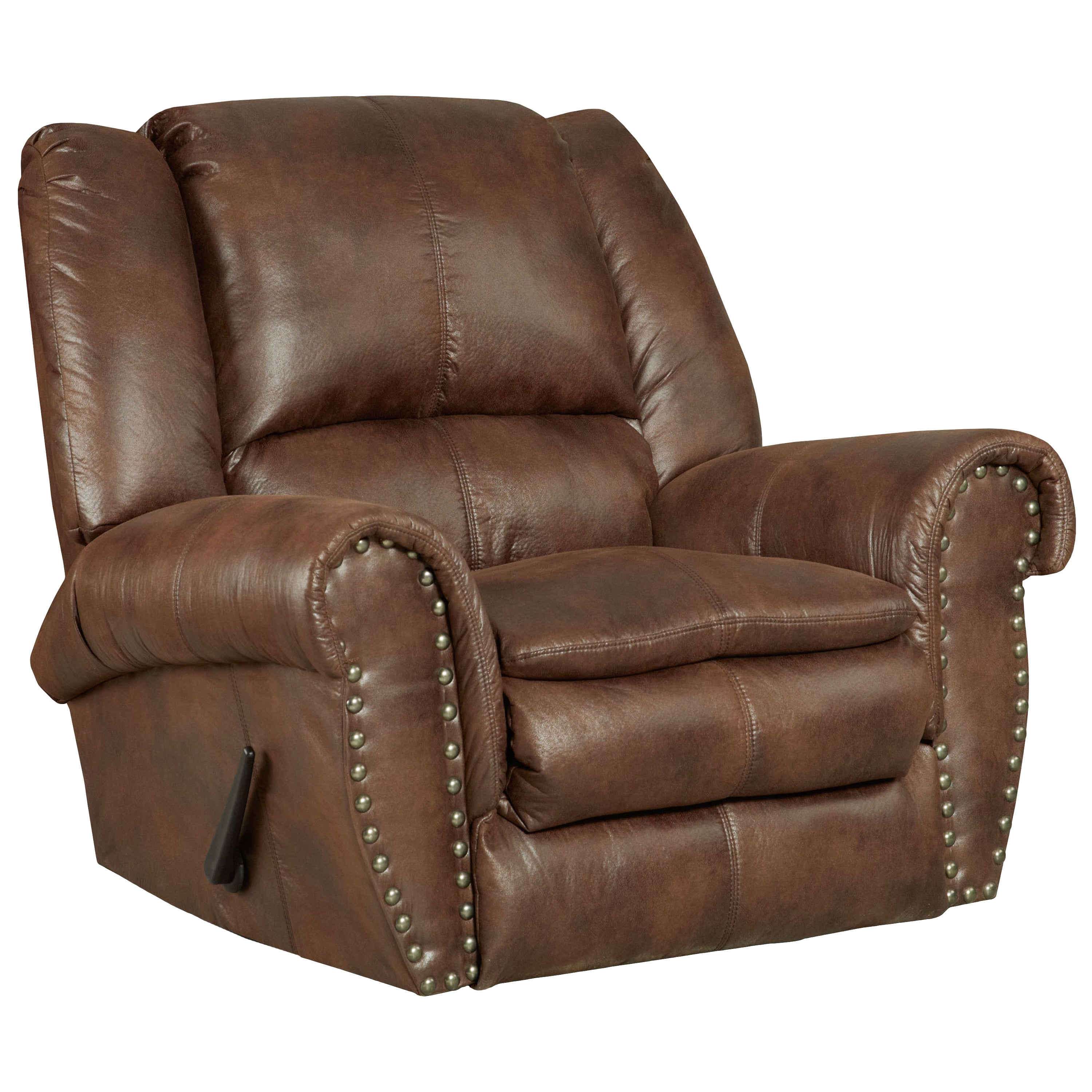 Shop Contemporary Brown Faux Leather Motion Recliner   Free Shipping Today    Overstock.com   10359798
