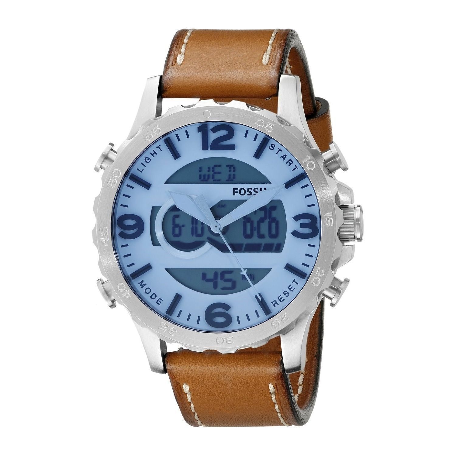 shipping today analog free jewelry nate brown mens multi fossil product men function leather digital overstock s watch watches