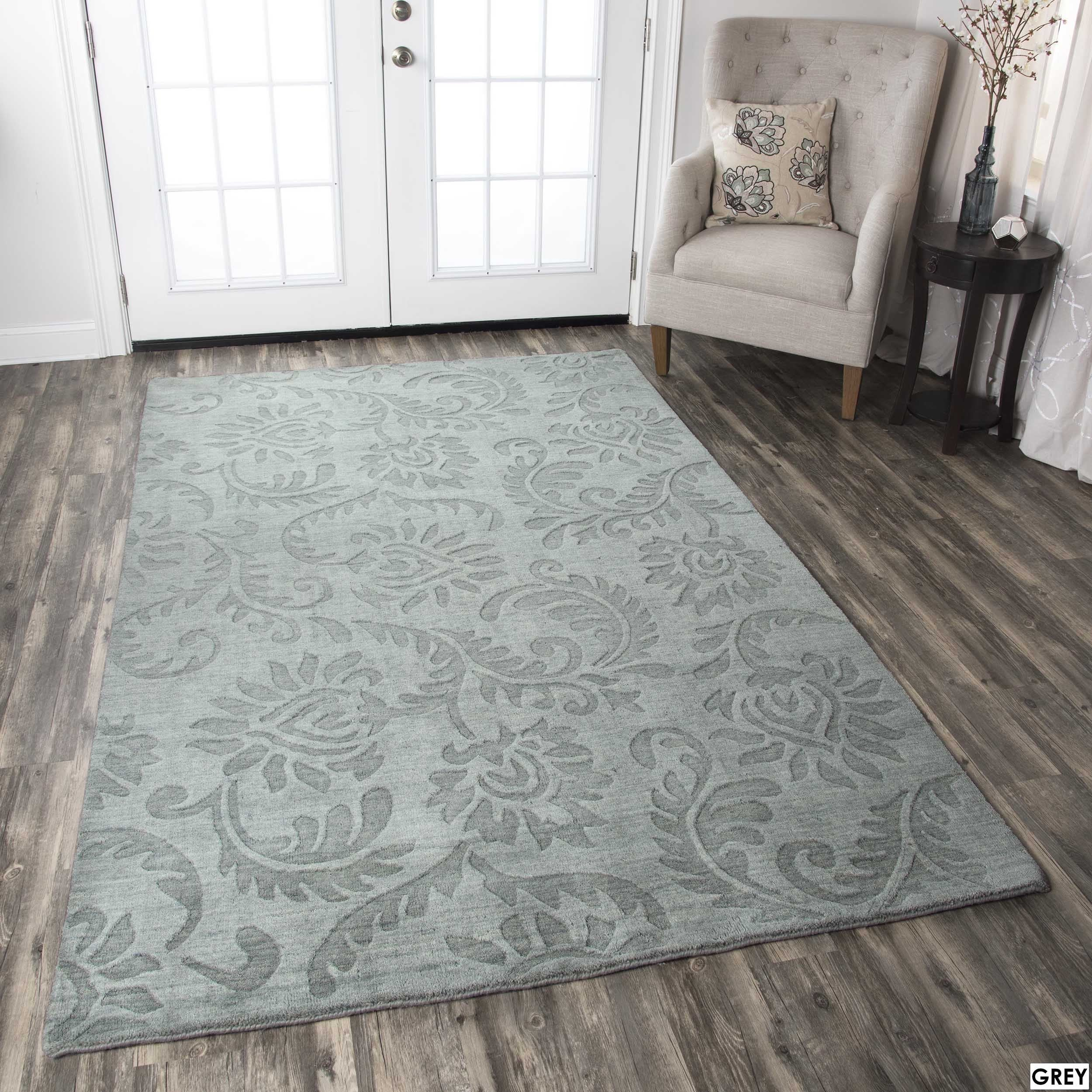 Rizzy Home Uptown Collection Handmade Solid Wool Grey Rust Rug  # Muebles Mio Colombia