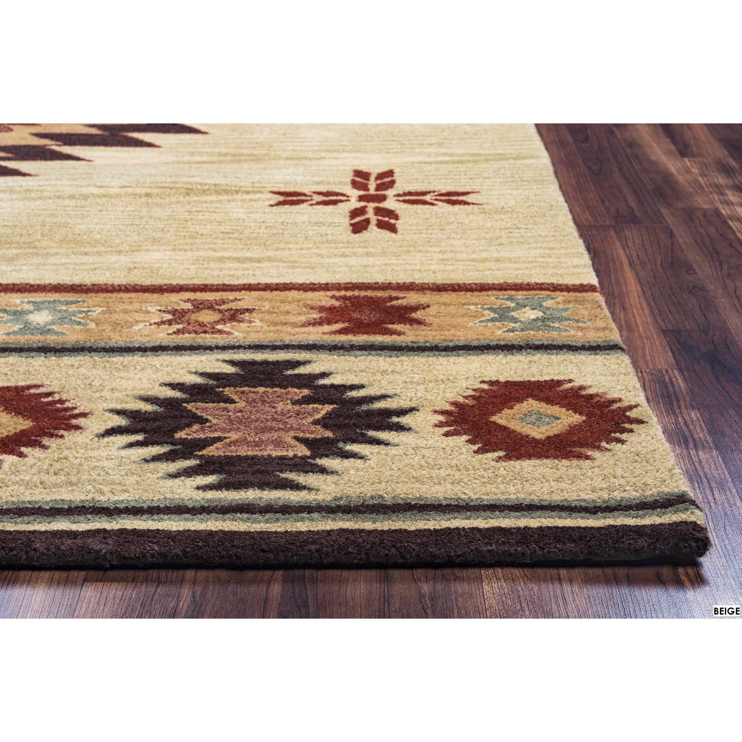 Rizzy Home Southwest Collection Hand Tufted Geometric Wool Red Green Beige Rug 9 X 12 Free Shipping Today 17469995