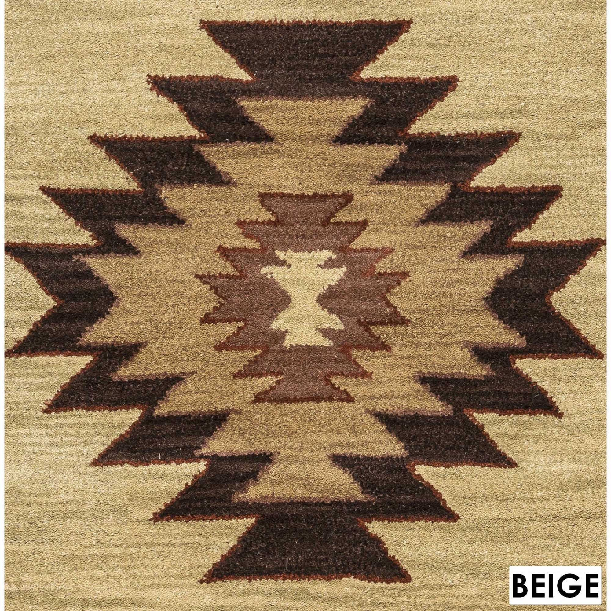 Rizzy Home Southwest Collection Hand Tufted Geometric Wool Red Green Beige Rug 5 X 8 Free Shipping Today 17470181