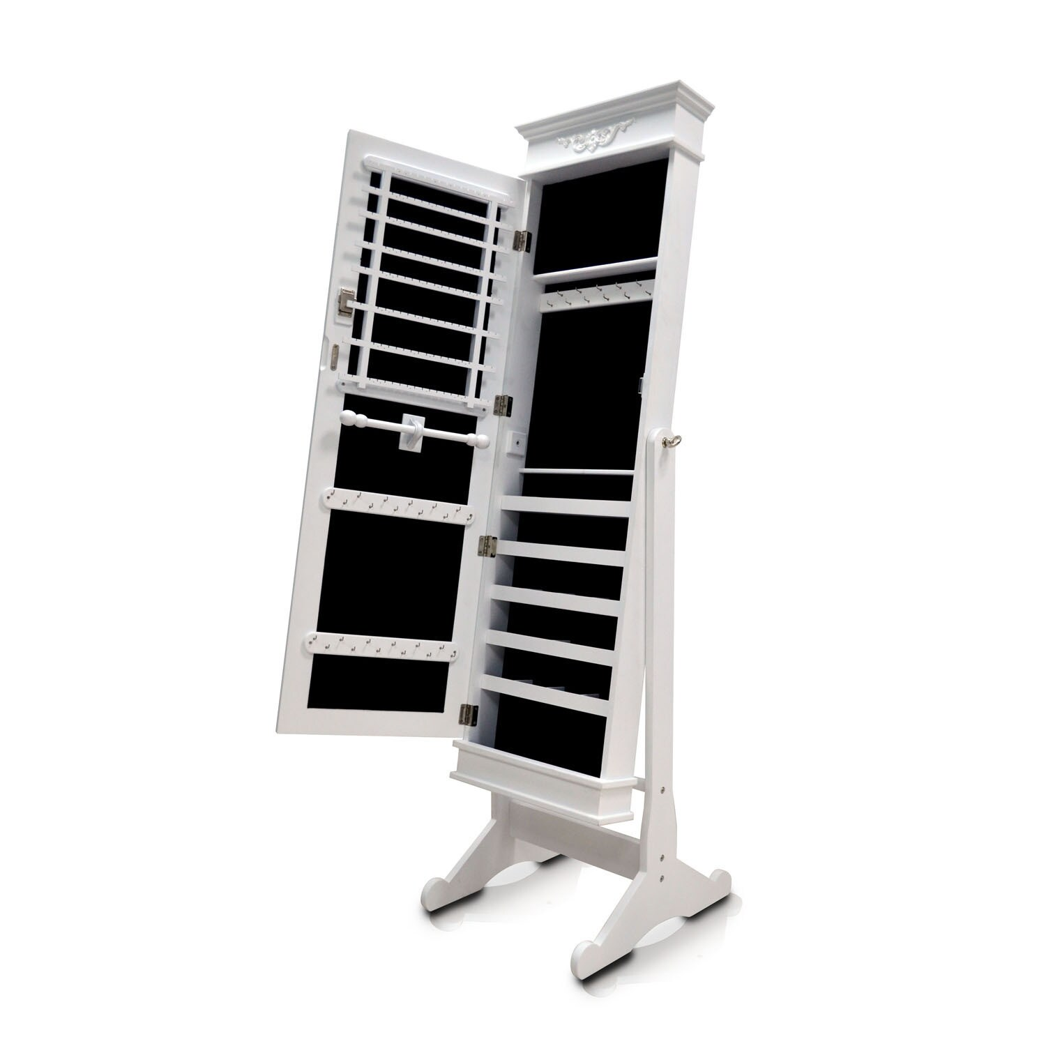 free stand premium cabinet full box shipping home garden size mirror cheval white jewelry case overstock armoire product today storage organizer
