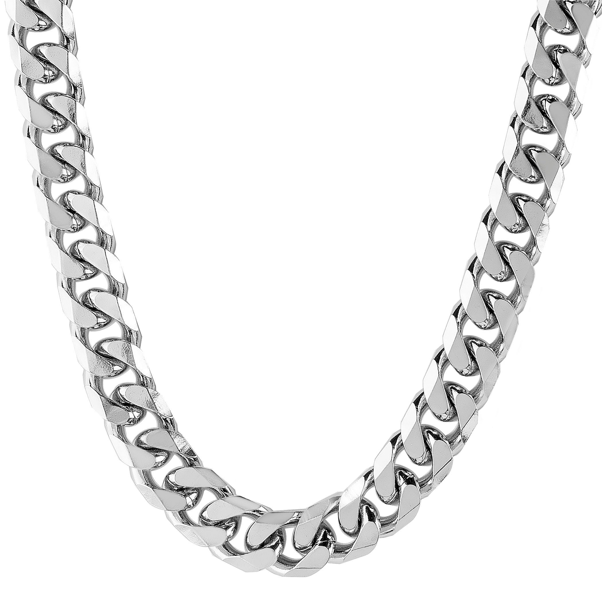 bfae106c94fa0 Stainless Steel Beveled Curb Link Chain Necklace (10 mm)
