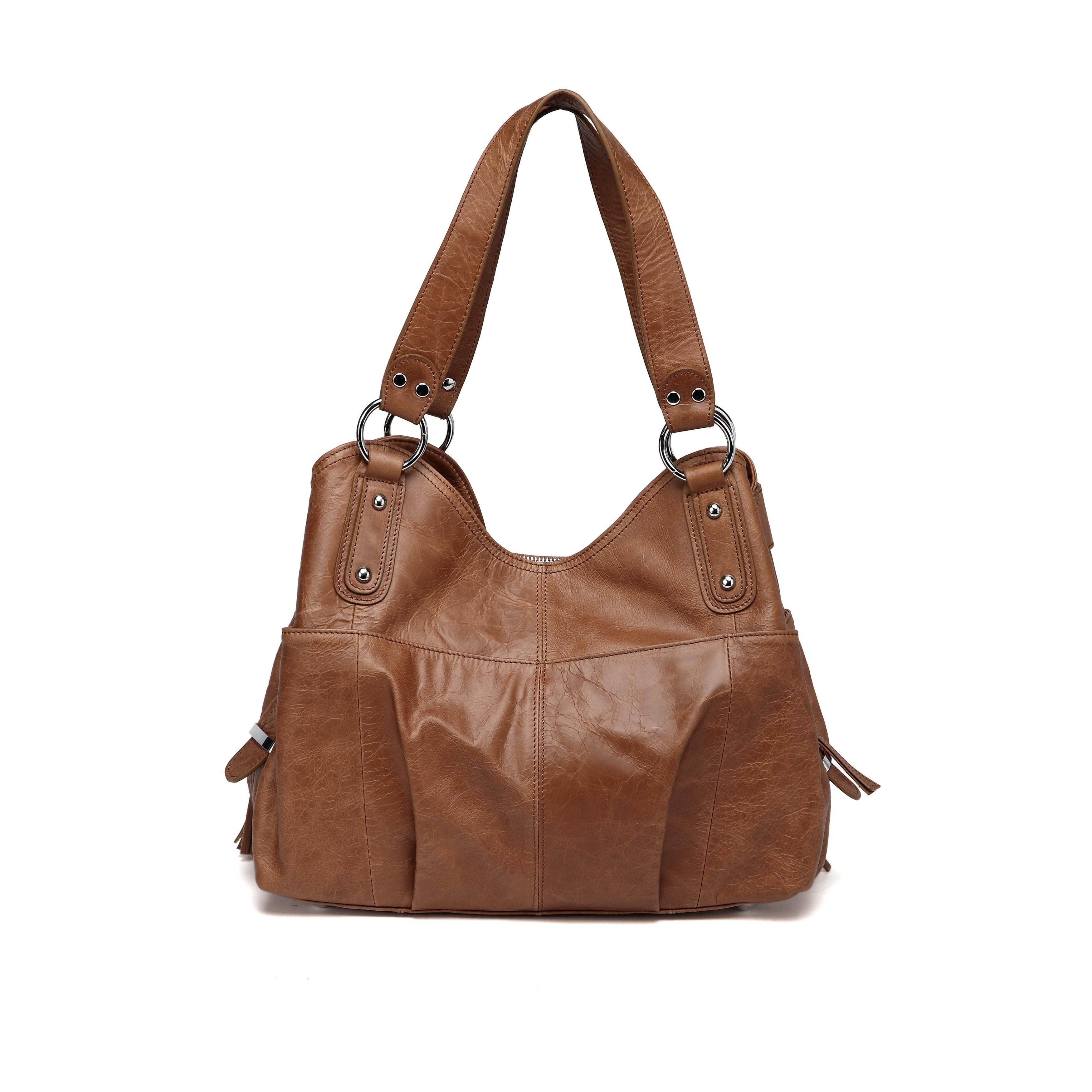 Shop Vicenzo Leather Athena Tan Italian Leather Handbag - Free ... f7cdd6a862