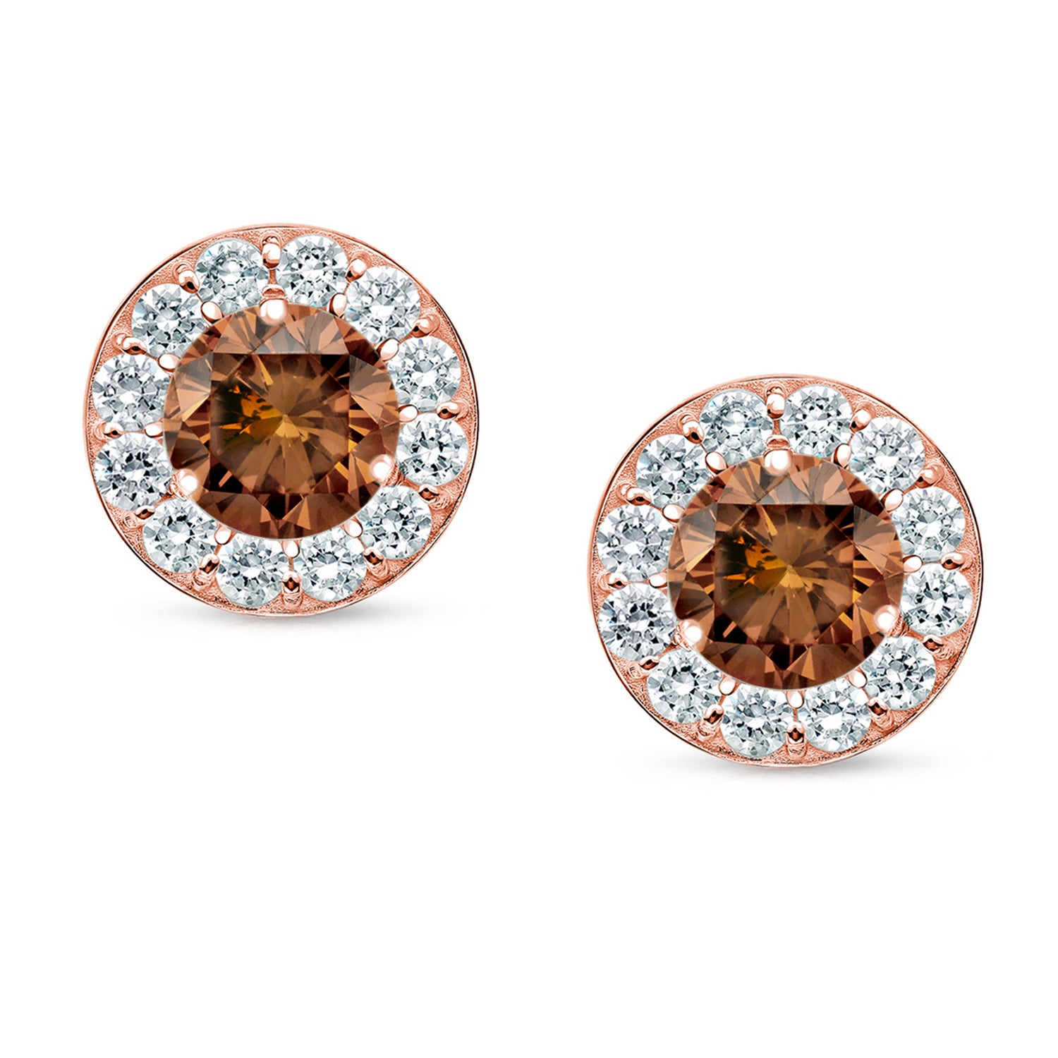 earrings and in set cut jewelry stone brown grey diamonds products bezel rose stud sea diamond featuring img