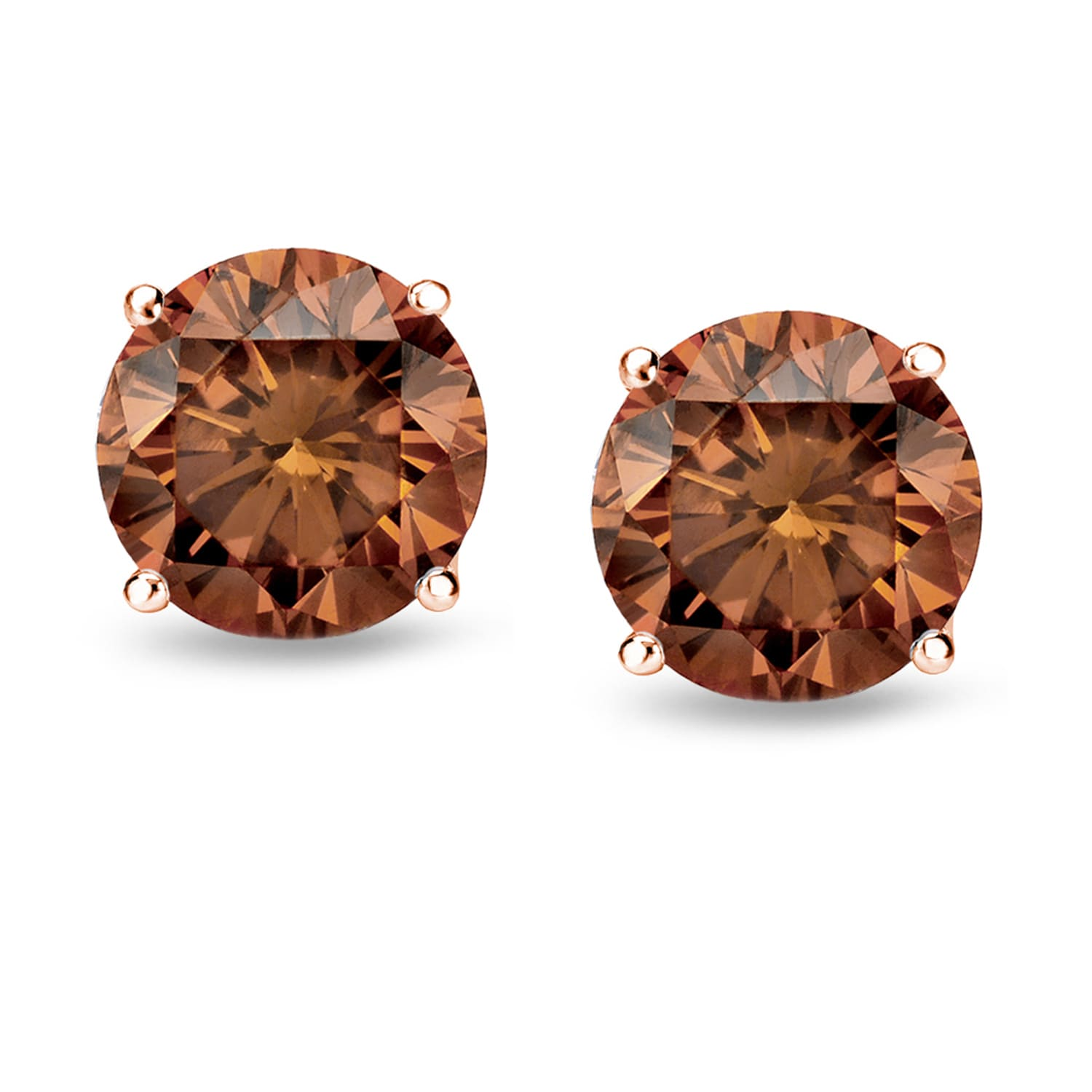 sparkleloots round products brown diamond stud earrings on ear