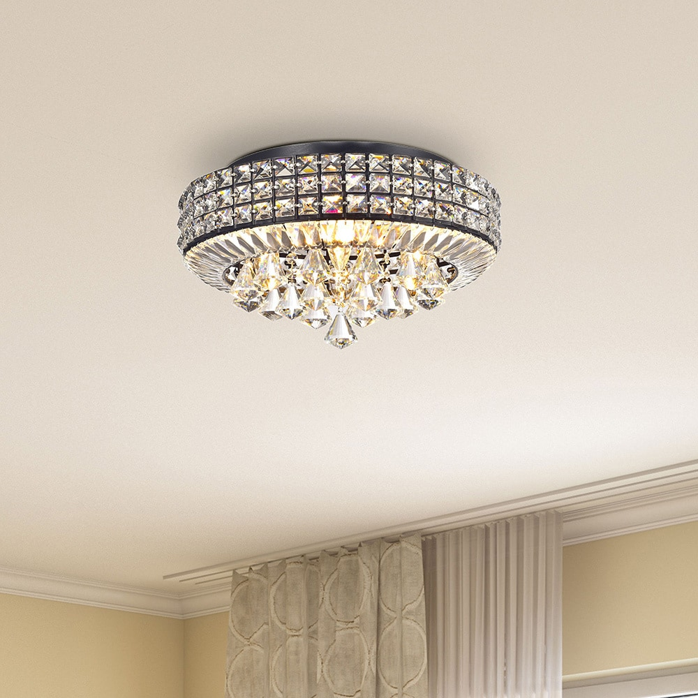 Jolie antique black 4 light crystal round flush mount chandelier jolie antique black 4 light crystal round flush mount chandelier free shipping today overstock 17472013 arubaitofo Images