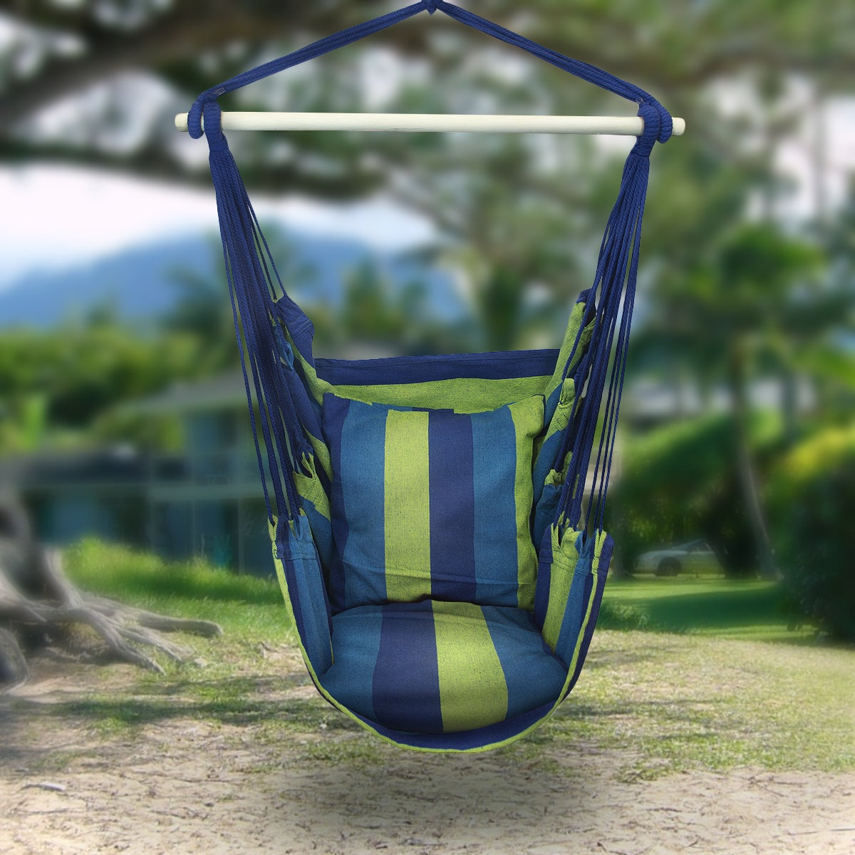 Shop Sorbus Hanging Rope Hammock Chair Swing Seat   Free Shipping Today    Overstock.com   10364876