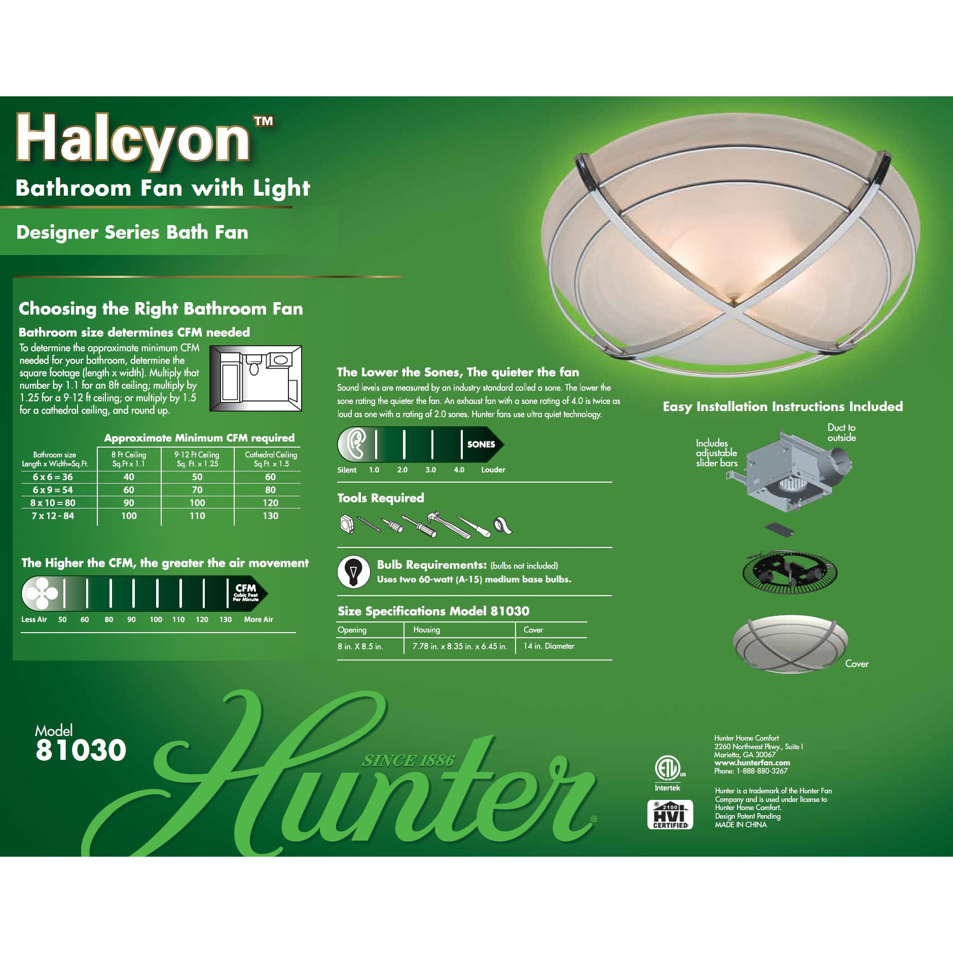Hunter Halcyon 90 Cfm Ceiling Exhaust Bath Fan With Light Free Shipping Today 17472176