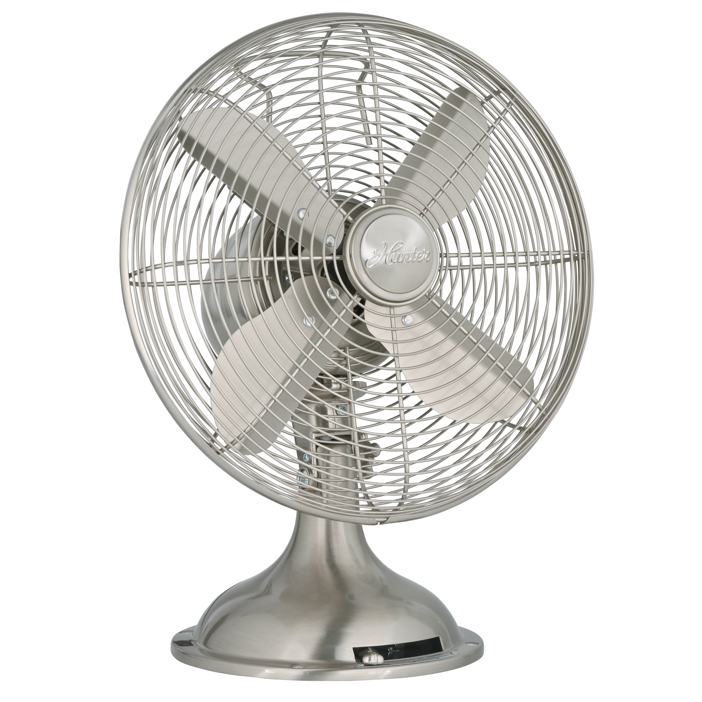 Shop Hunter 12 Inch Brushed Nickel Retro Metal Table Fan   Free Shipping  Today   Overstock.com   10364937