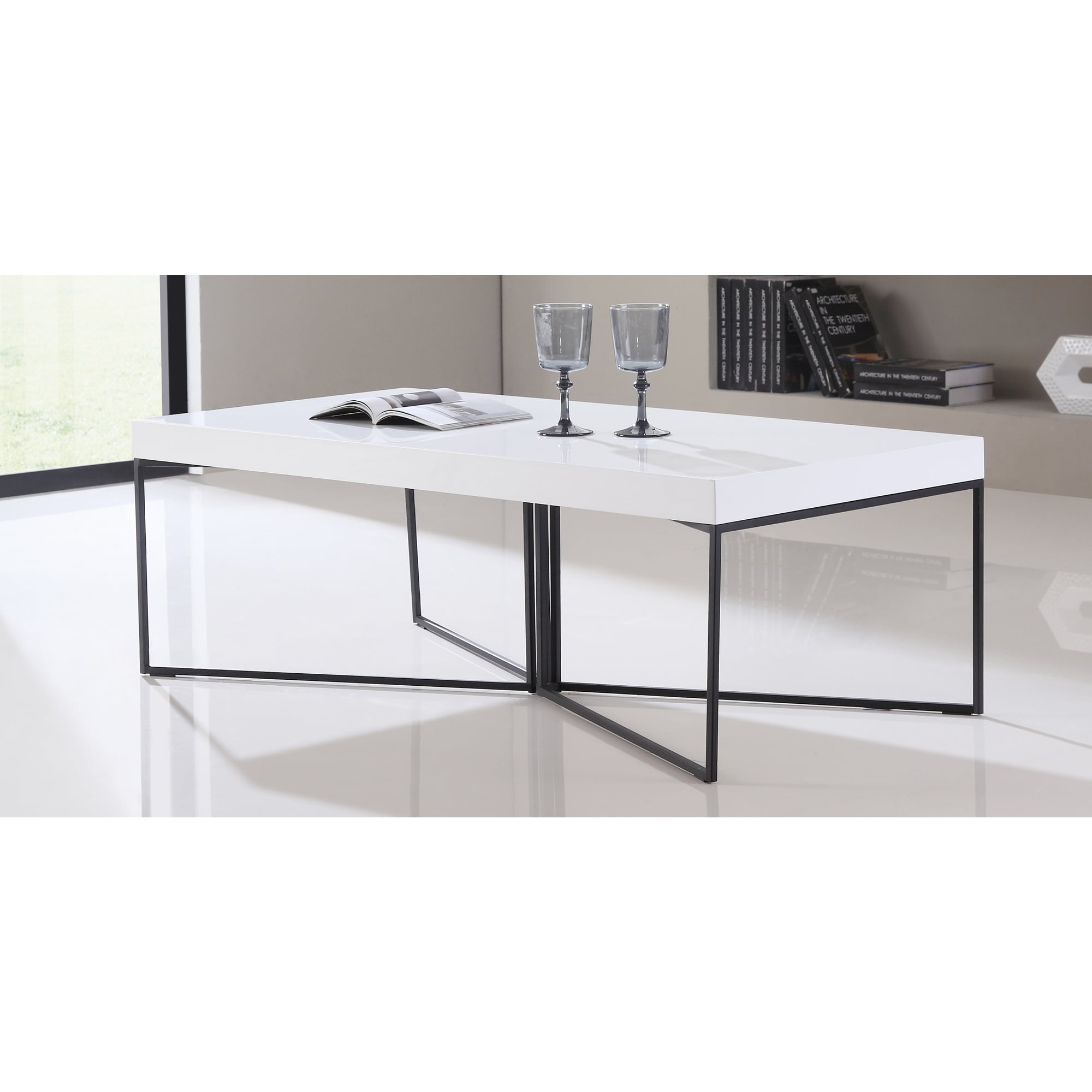 B Modern Mixer High Gloss White And Black Steel Coffee Table Free Shipping Today 17473769